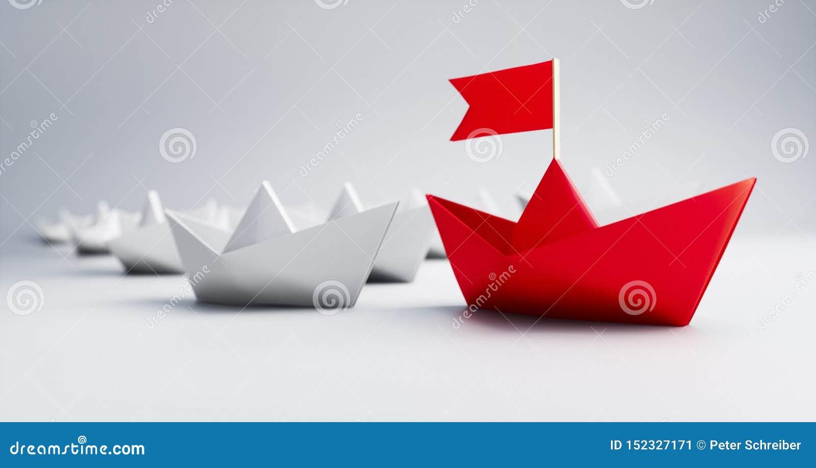 小组白色和红色纸小船- 3D例证