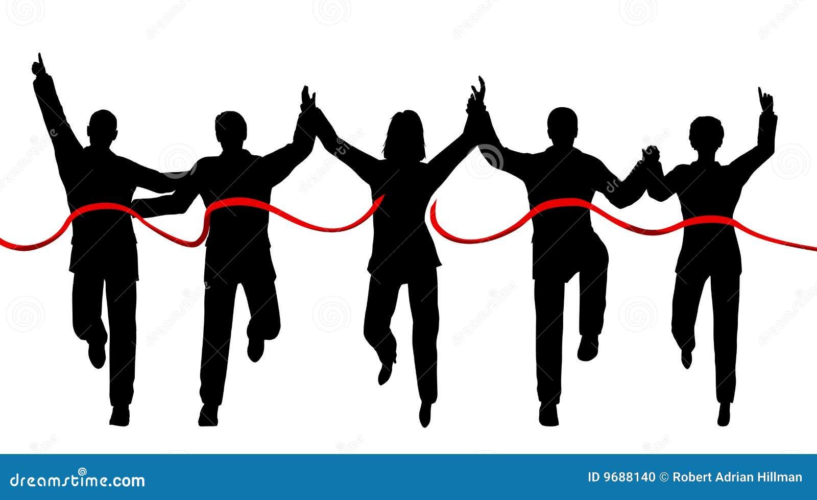 跨过每条终点线对象人员单独剪影的商业合作.