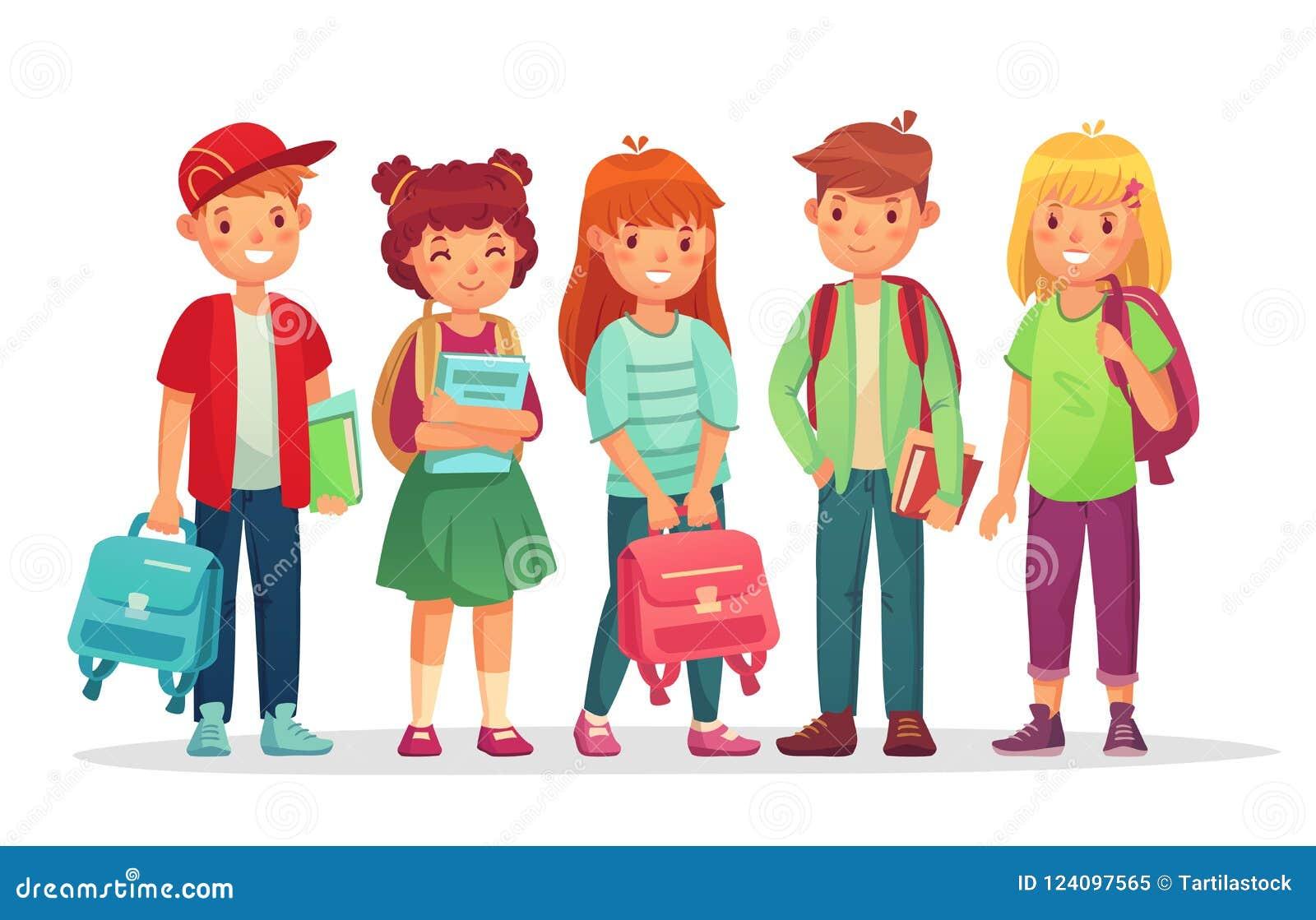 小组青少年的学生 男生和女孩有背包和书的十几岁学生 哄骗一起学会传染媒介的学生