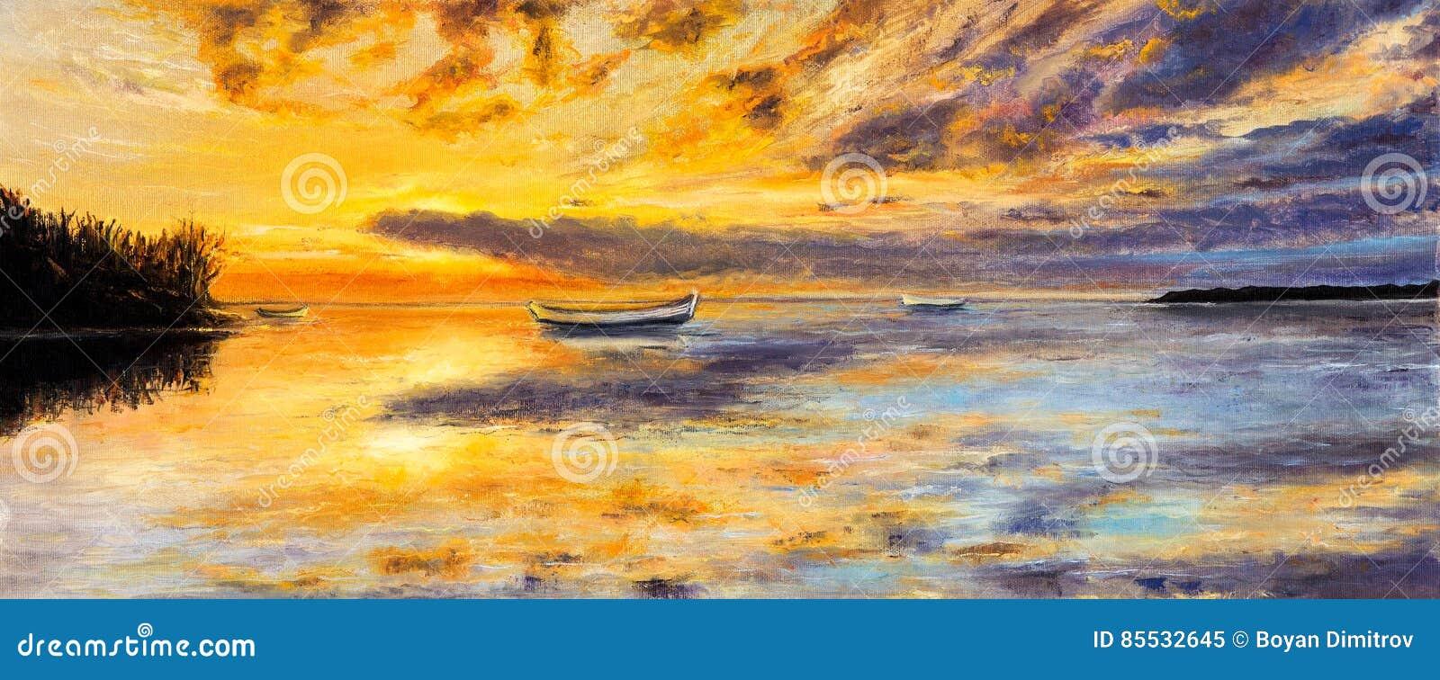 小船和日落