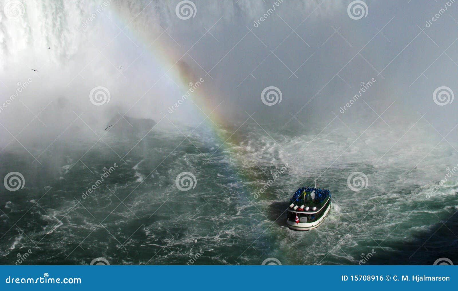 小船彩虹游人