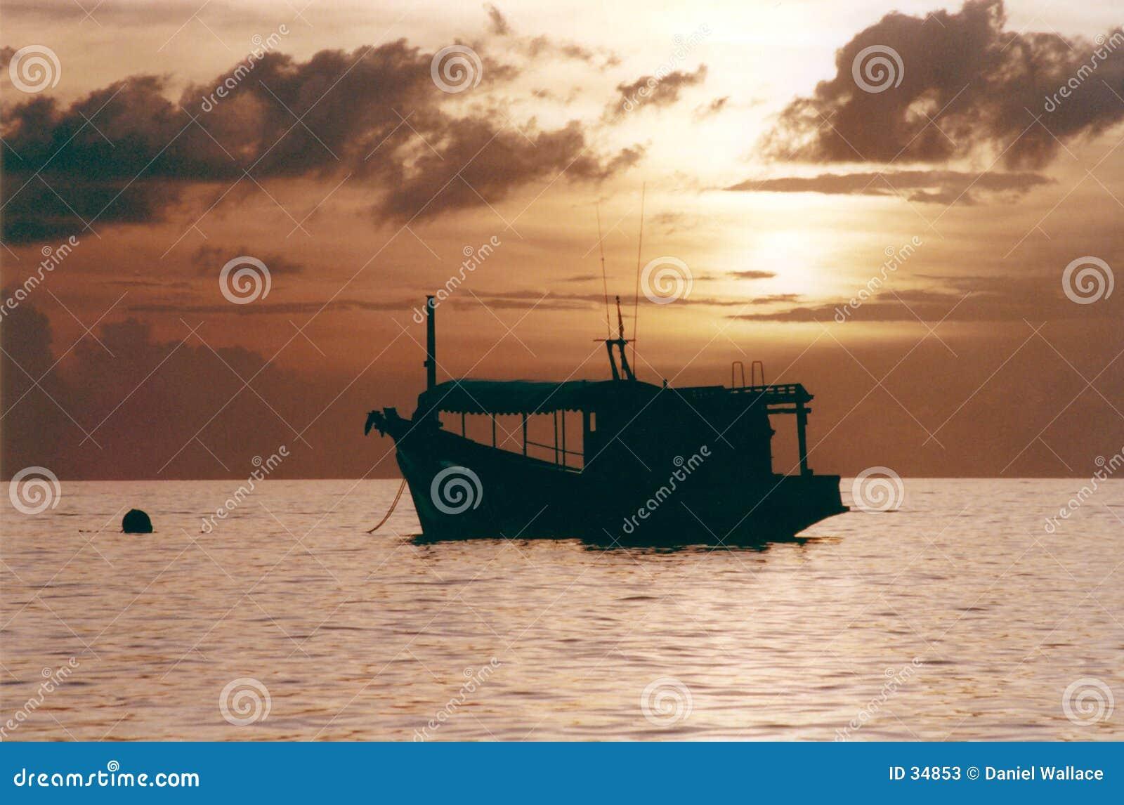 小船捕鱼日落