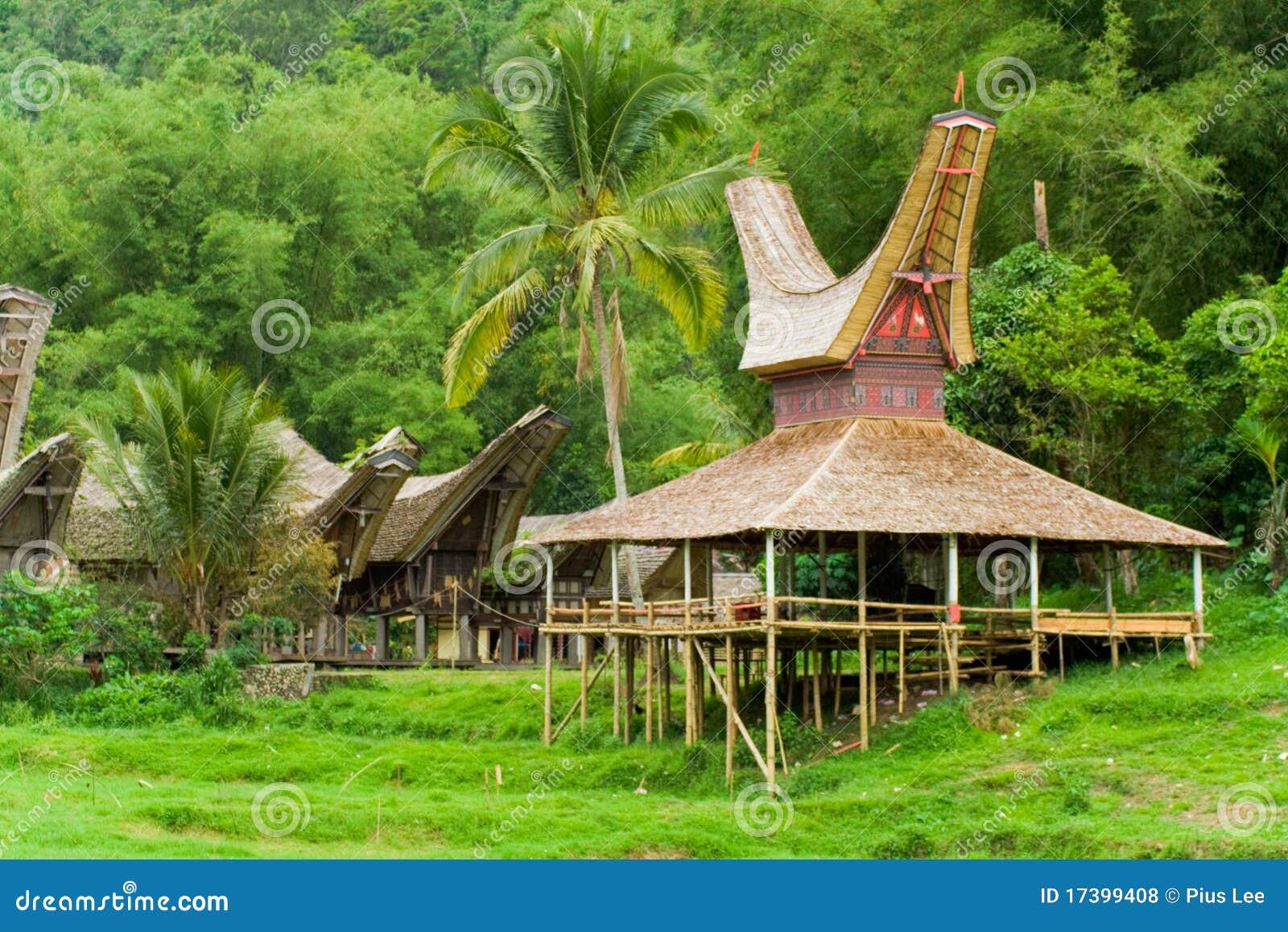 小船接近的房子tana toraja村庄