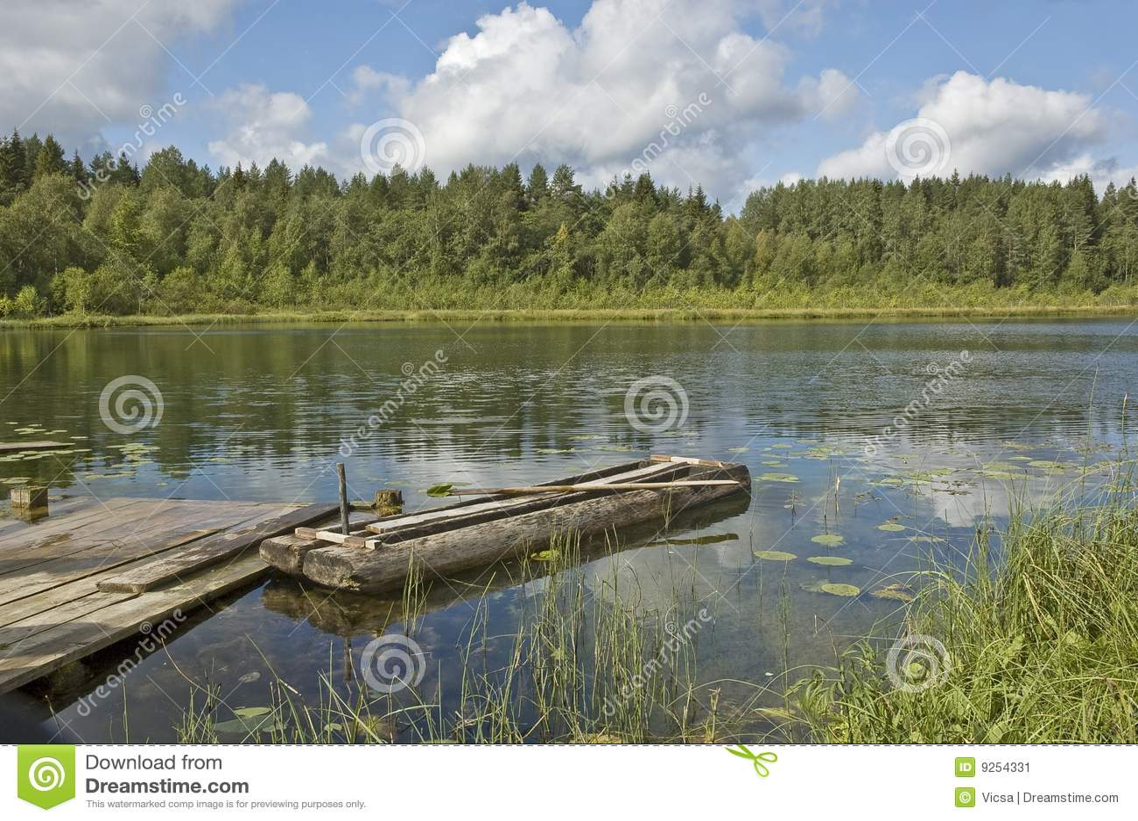 小船森林湖老木