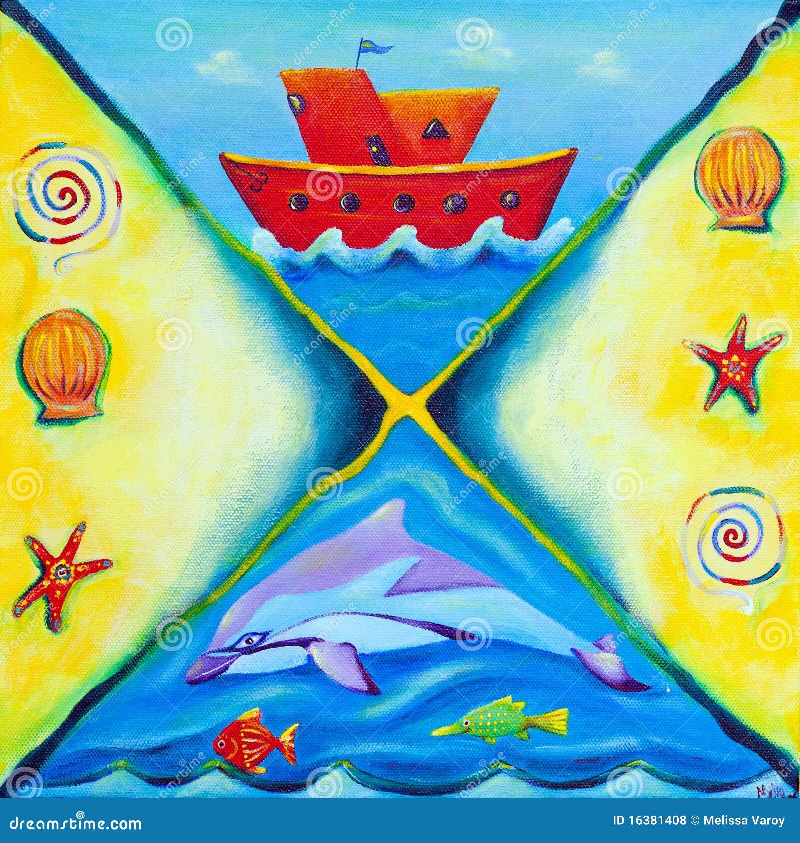小船生活海洋绘画红色图片