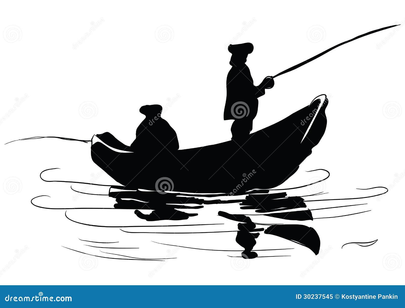 小船的渔夫. 钓鱼从小船. 图画做了by手. 传染媒介例证.