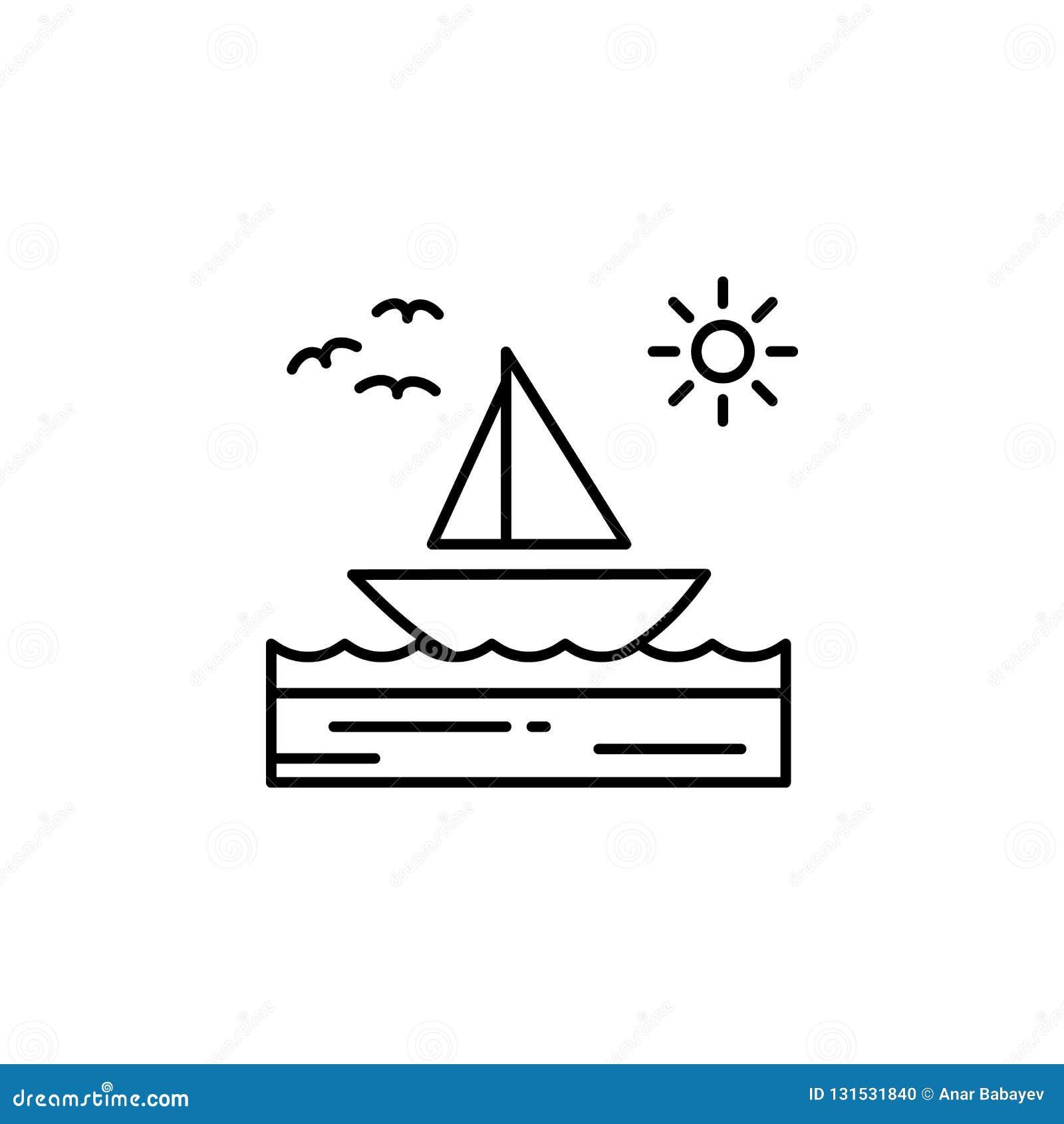 小船,海,晴朗,风船,鸟概述象 风景例证的元素 标志和标志概述象可以使用为