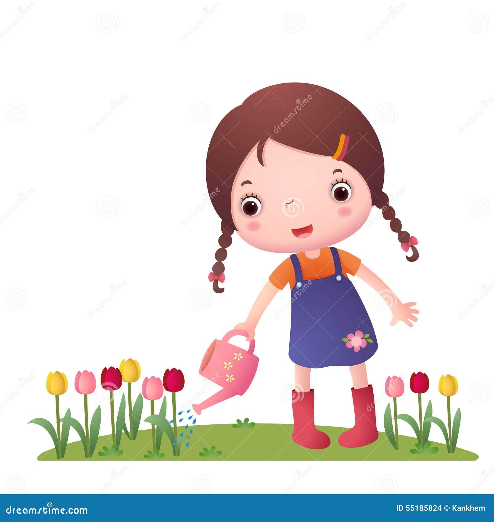 小逗人喜爱的女孩浇灌的花