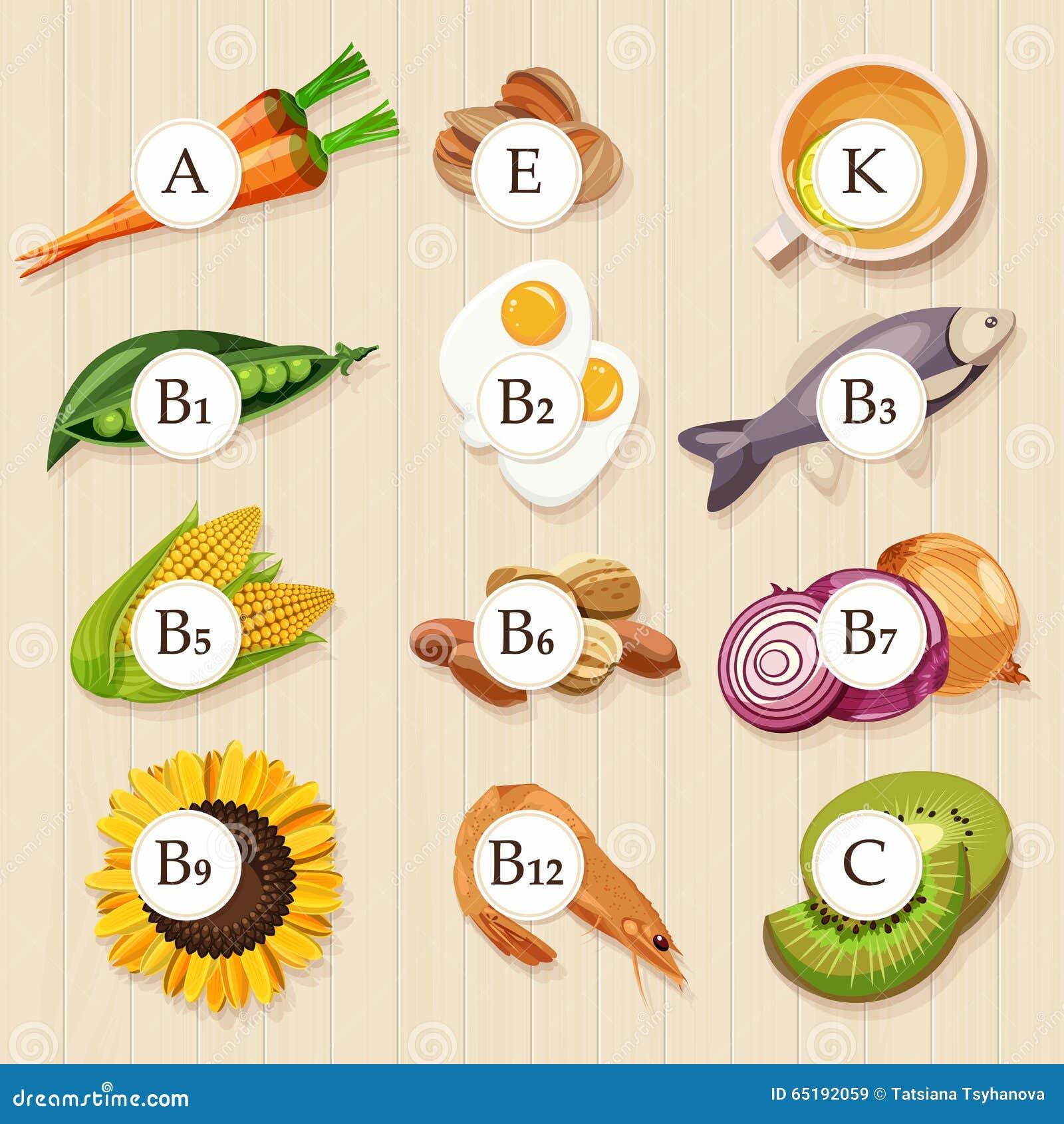 小组健康水果、菜、肉、鱼和包含具体维生素的乳制品 木背景