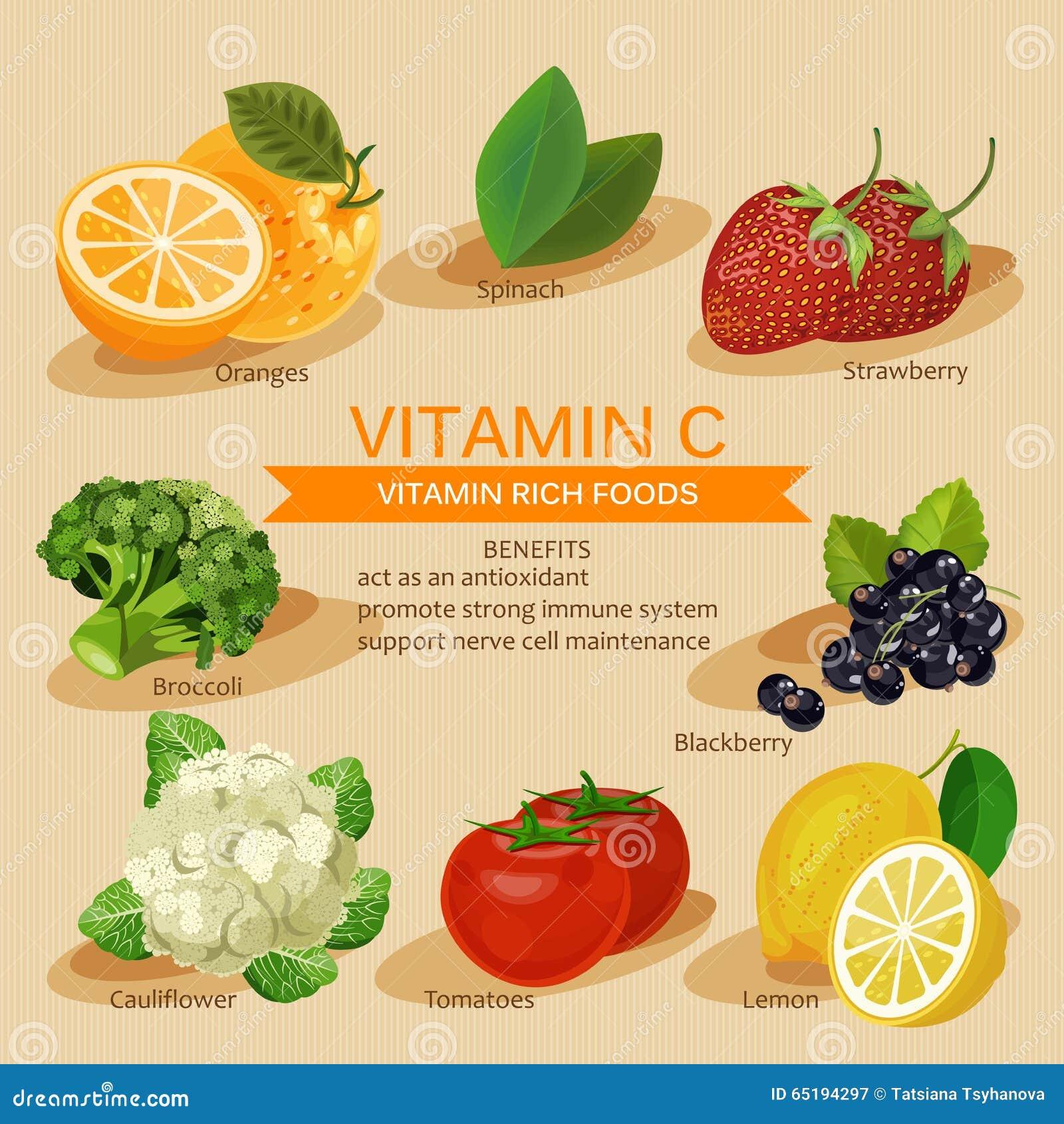 小组健康水果、菜、肉、鱼和包含具体维生素的乳制品 c新鲜的健康桔子样式维生素
