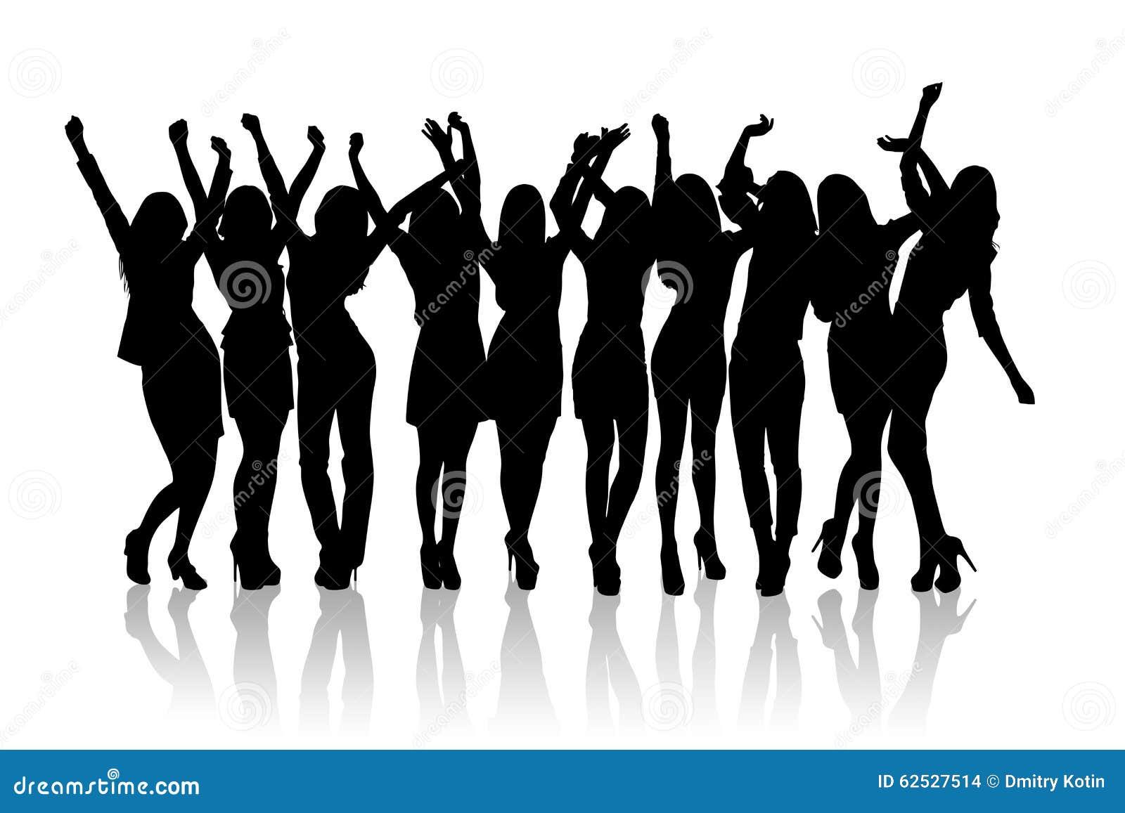 小组剪影女孩跳舞