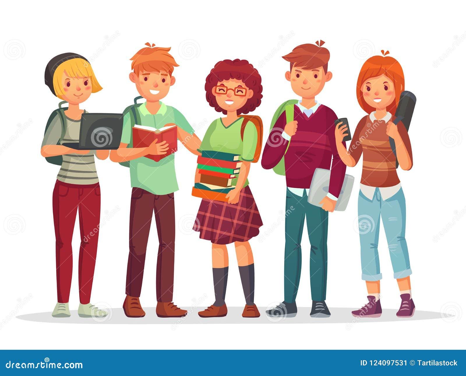 少年学生团体 一起学会年轻十几岁highschool学生的朋友 有学校背包传染媒介的少年