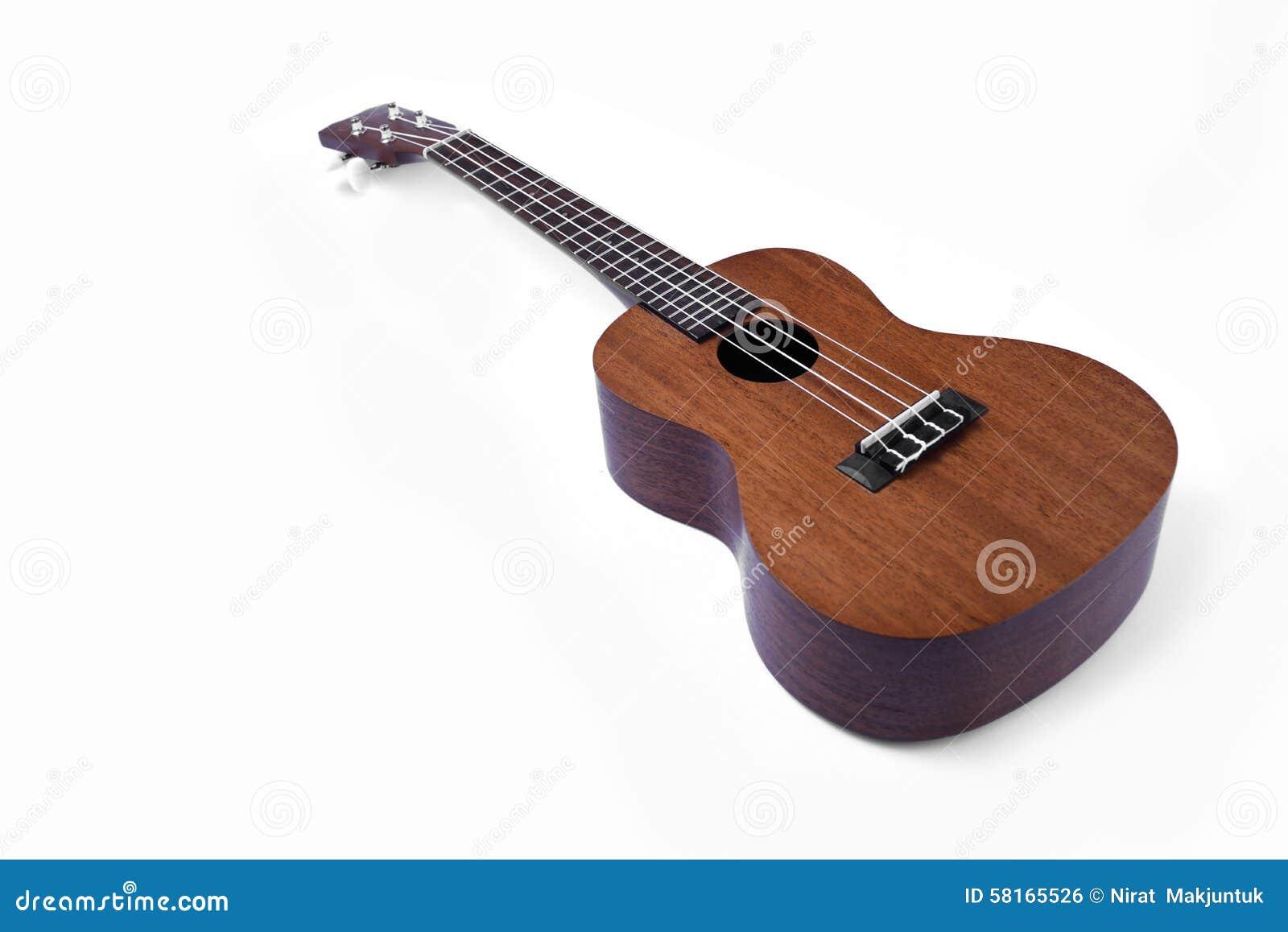 在空白背景查出的尤克里里琴吉他.图片