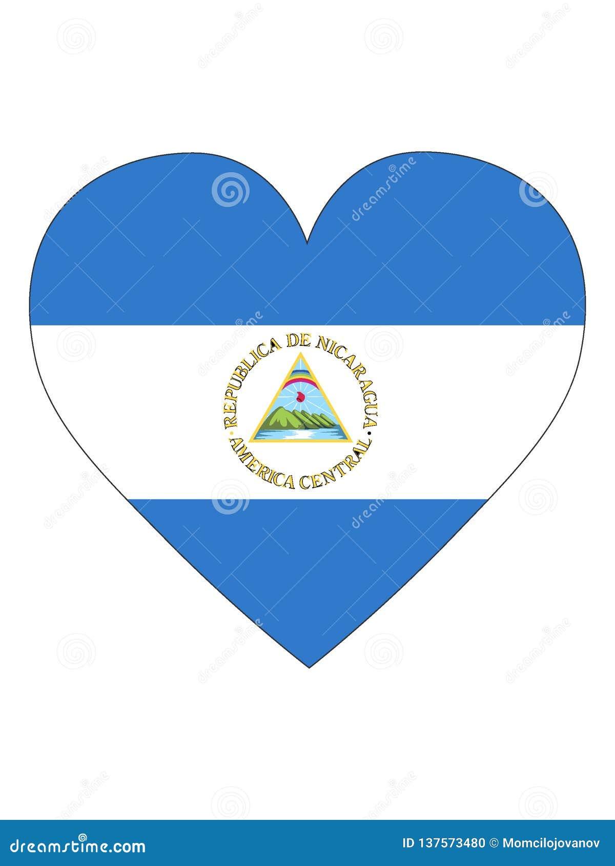 尼加拉瓜的心形的旗子