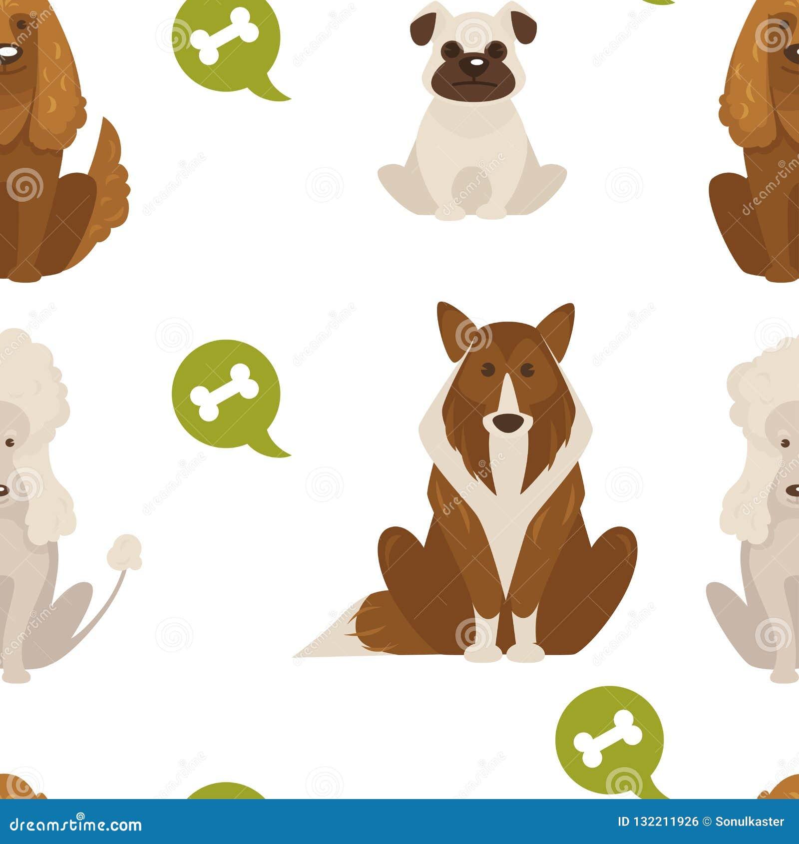 尾随类型和在白色背景传染媒介隔绝的品种似犬动物无缝的样式