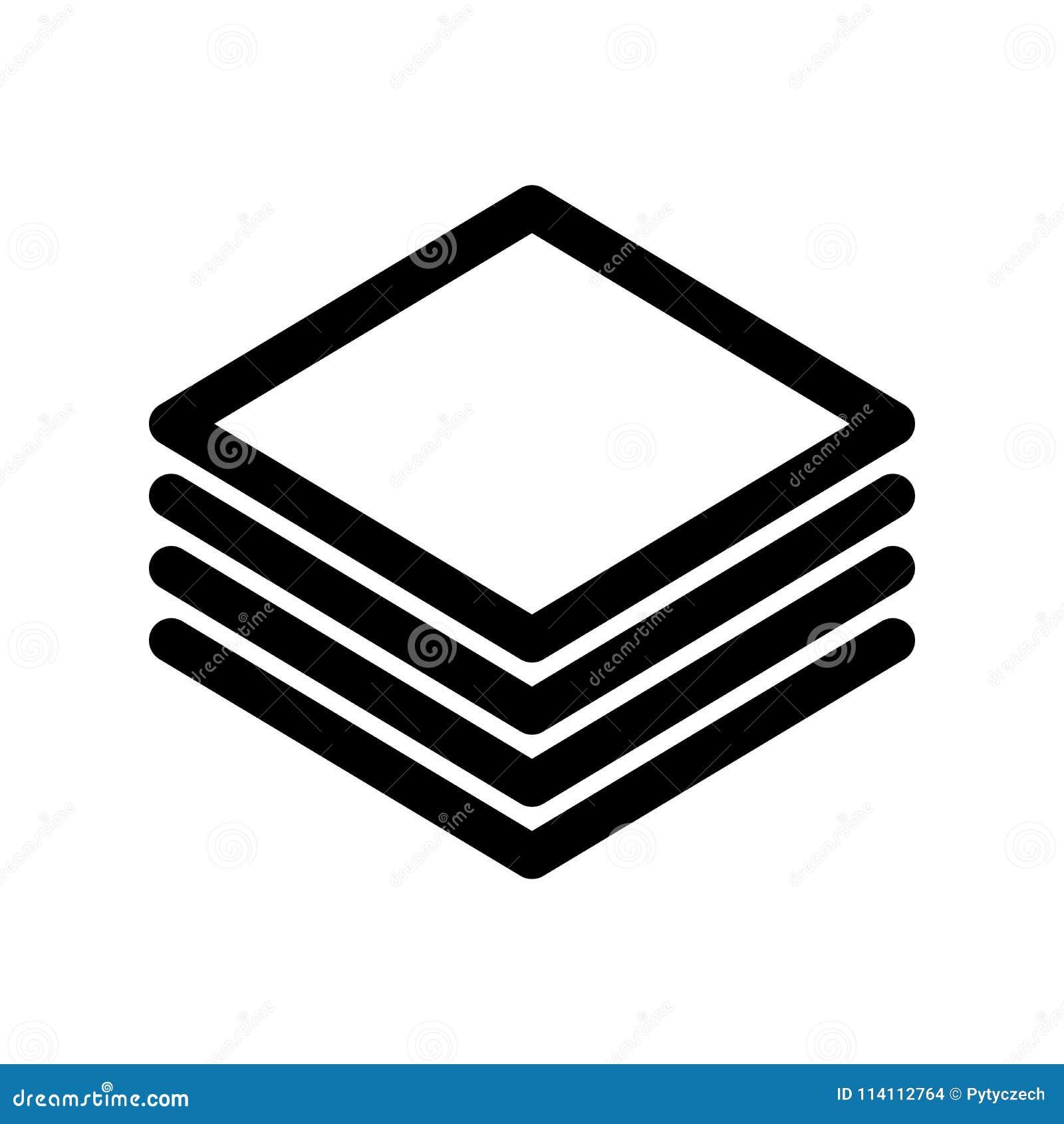 层数或堆纸象 概述现代设计元素 与圆角落的简单的黑平的传染媒介标志