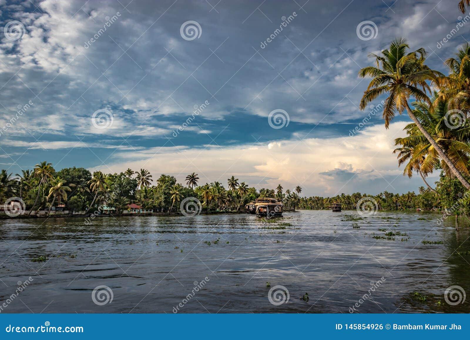 居住船在有天空和棕榈树的死水