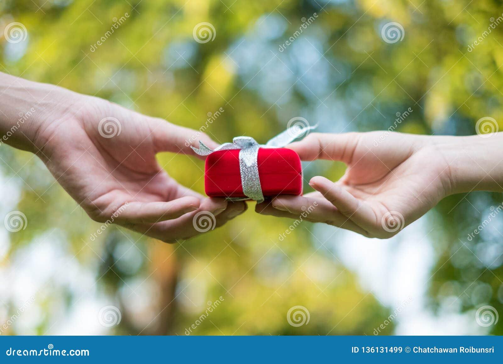 屈服红色礼物盒用手在特别人的特别日子,草背景的 婚戒箱子
