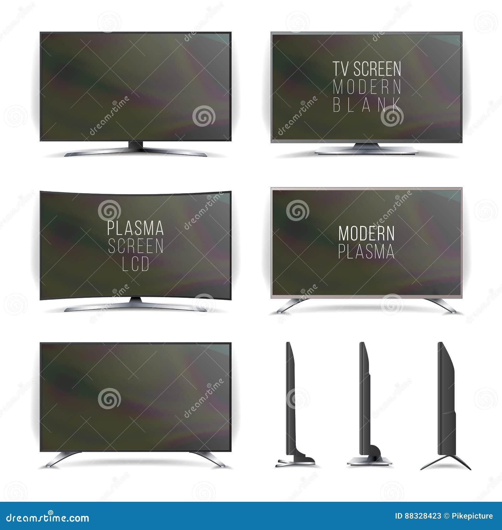 屏幕Lcd等离子传染媒介 电视机 弯曲的和平的电视屏幕lcd,等离子 端二 背景查出的白色 Realisti