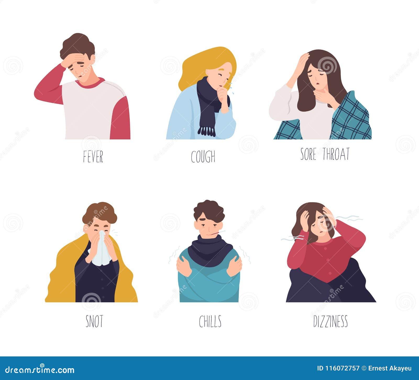 展示感冒-热病,咳嗽,喉咙痛,鼻涕,冷颤的症状男性和女性漫画人物