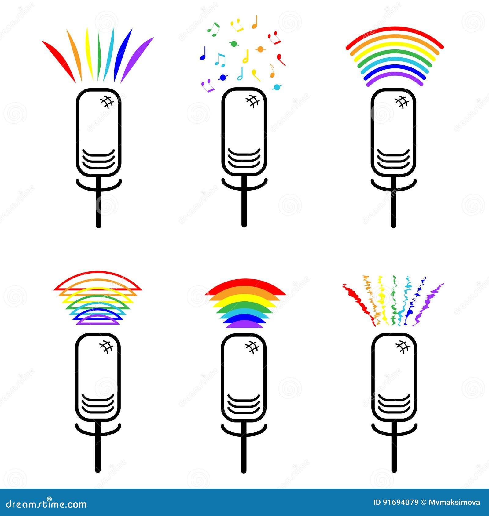 属于的标志性少数 套有彩虹声音的象话筒 女同性恋者和同性恋者 LGBT标志