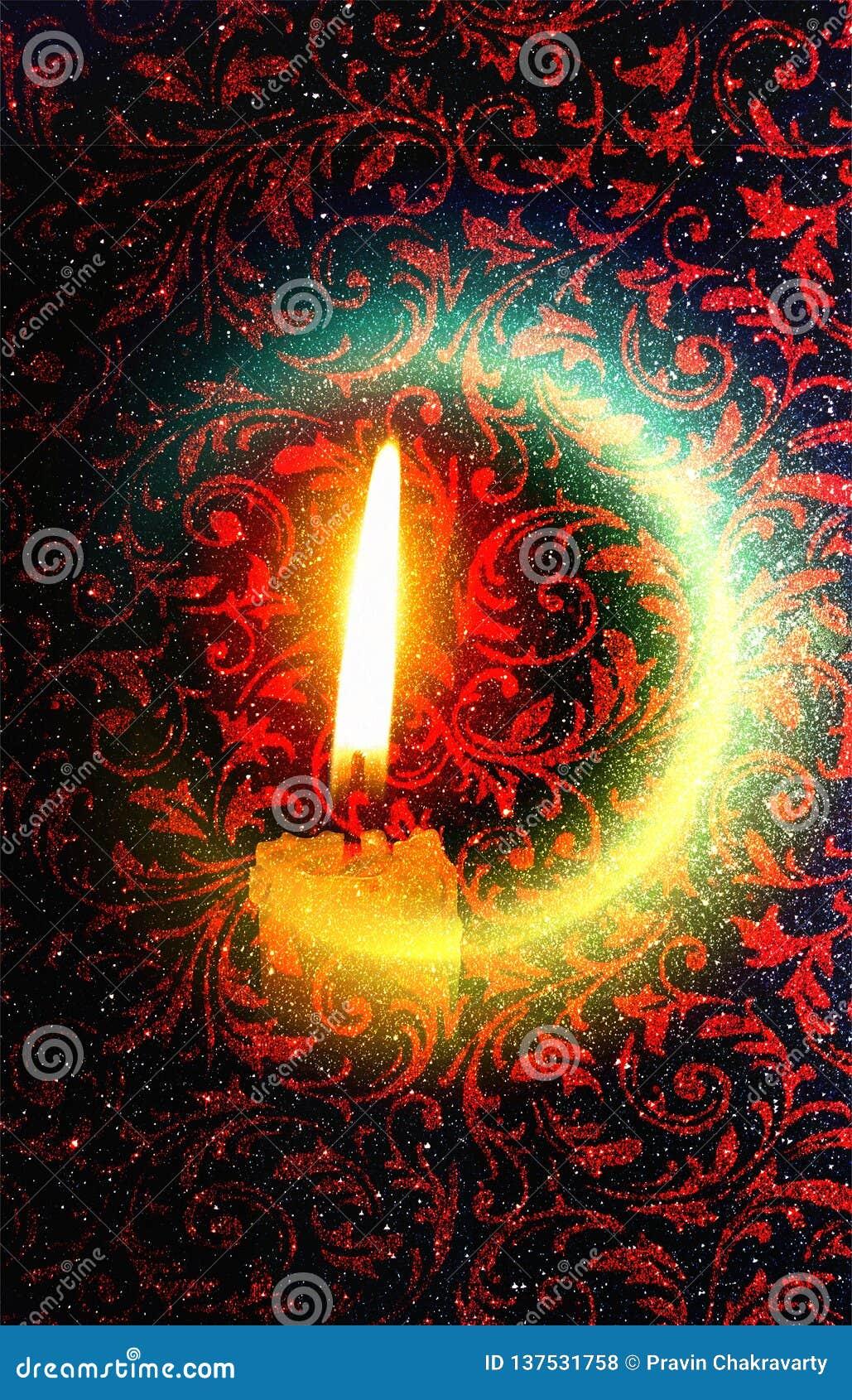 屠妖节五颜六色的点燃的背景印度节日