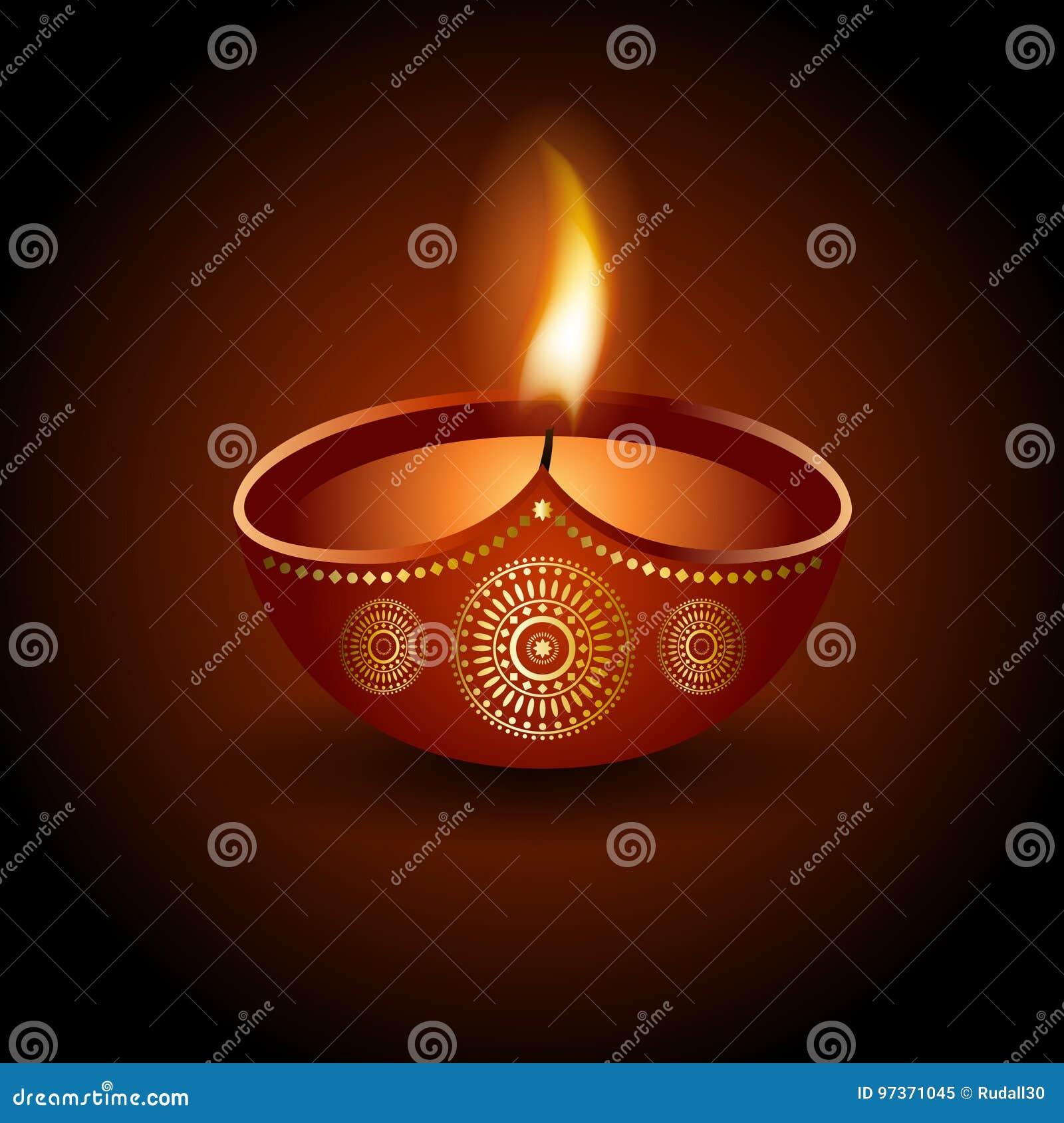 屠妖节庆祝灼烧的diya的图表例证