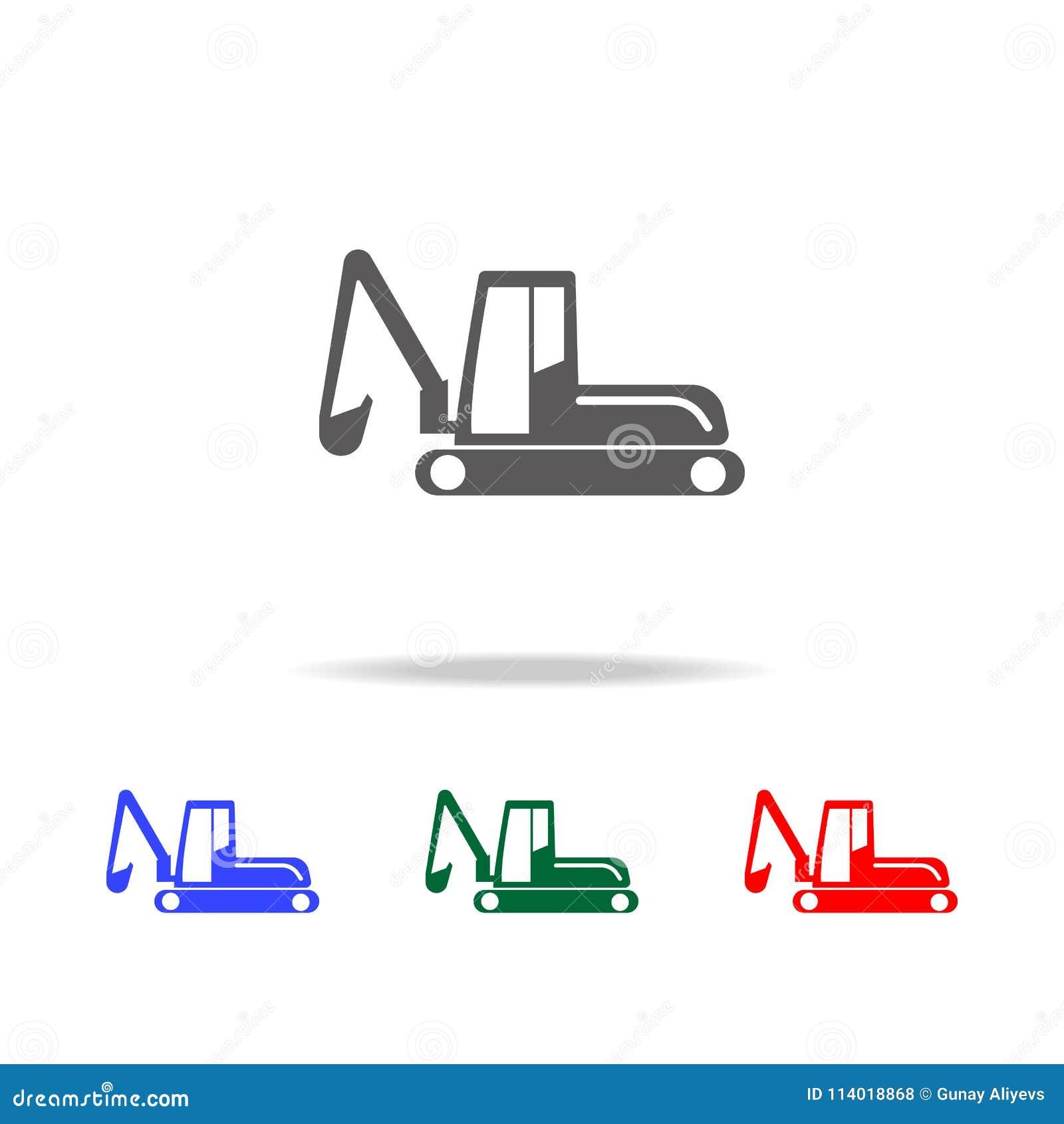 履带牵引装置挖掘机象 建筑的元素用工具加工多色的象 优质质量图形设计象 w的简单的象