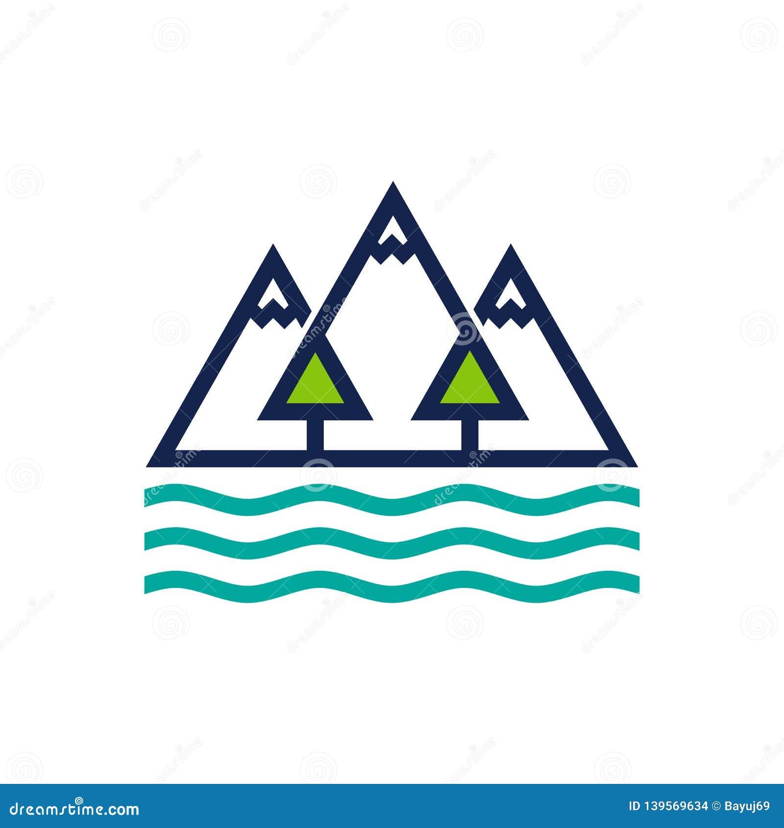 山、森林和海洋商标设计模板