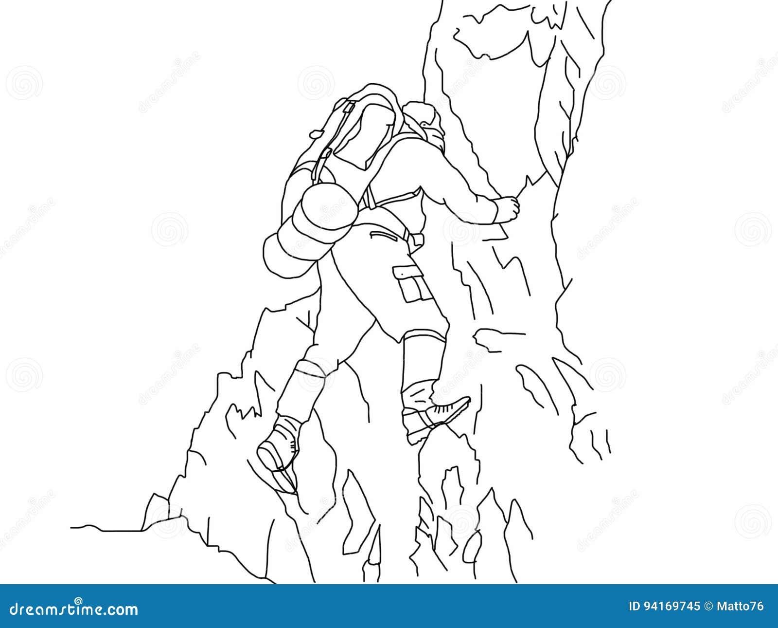 登山人例证有背景