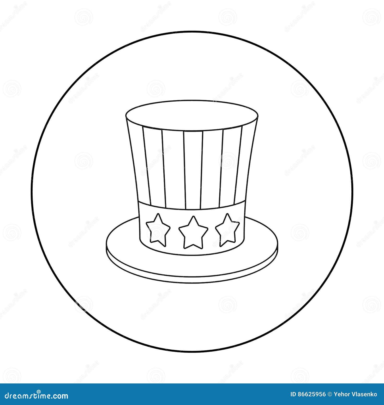 山姆大叔` s在白色背景在概述样式的帽子象隔绝的 爱国者天标志股票传染媒介例证