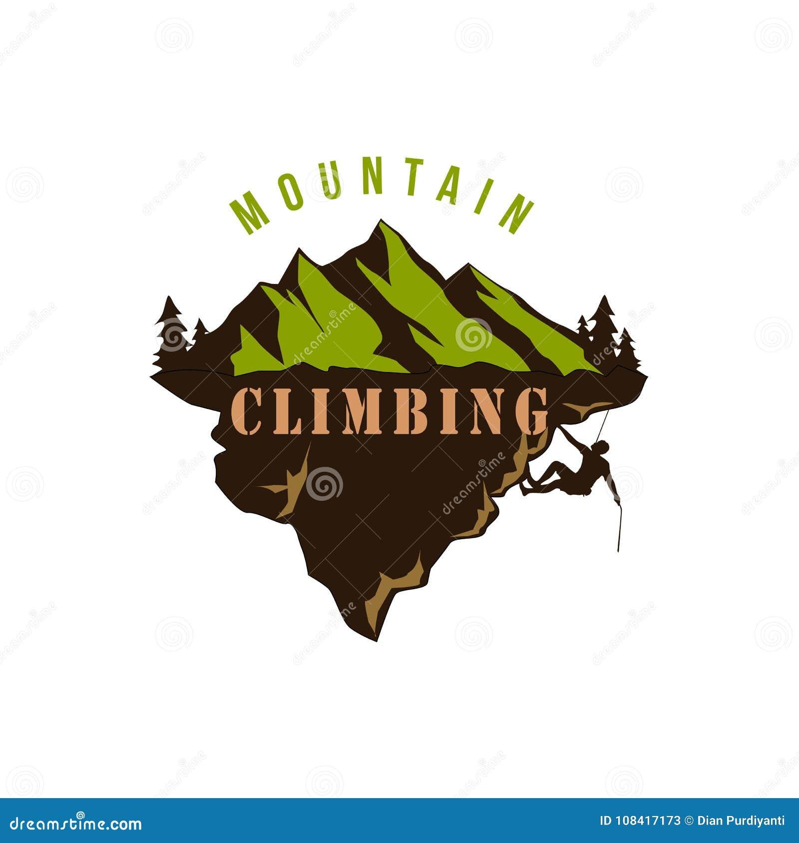 山探险家冒险,上升,极端体育,剪影,徽章传染媒介设计