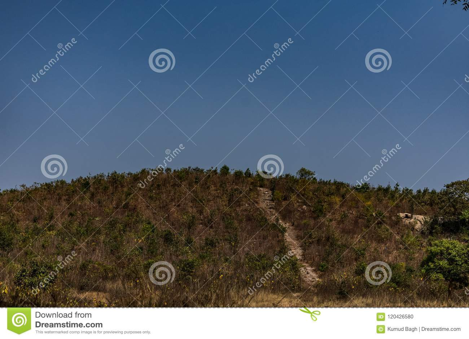 山的上面是光秃的岩石风景,并且rockpools在农村森林和它里提供周边地区incl的看法