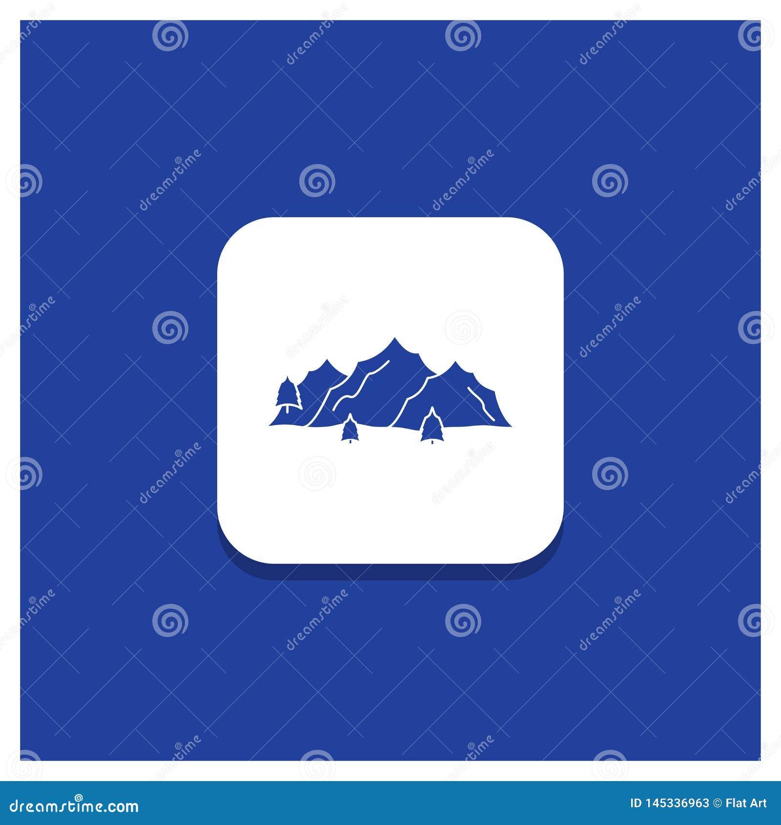山的,风景,小山,自然,树纵的沟纹象蓝色圆的按钮