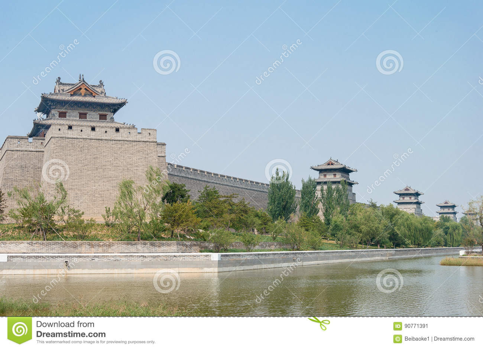 山西,中国- 2015年9月21日:大同市墙壁 著名Histor