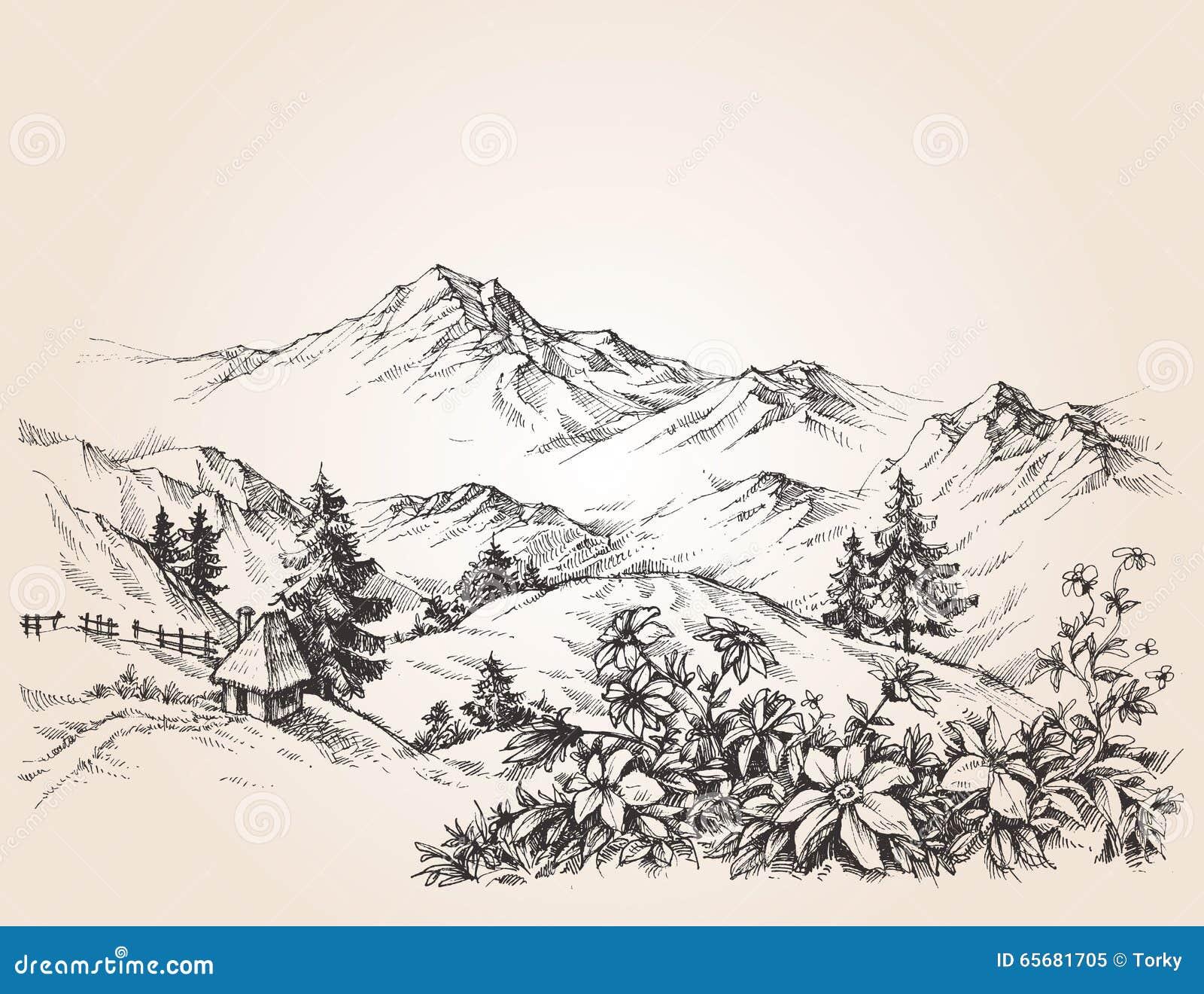 山风景剪影 向量例证 插画 包括有 山风景剪影  65681705