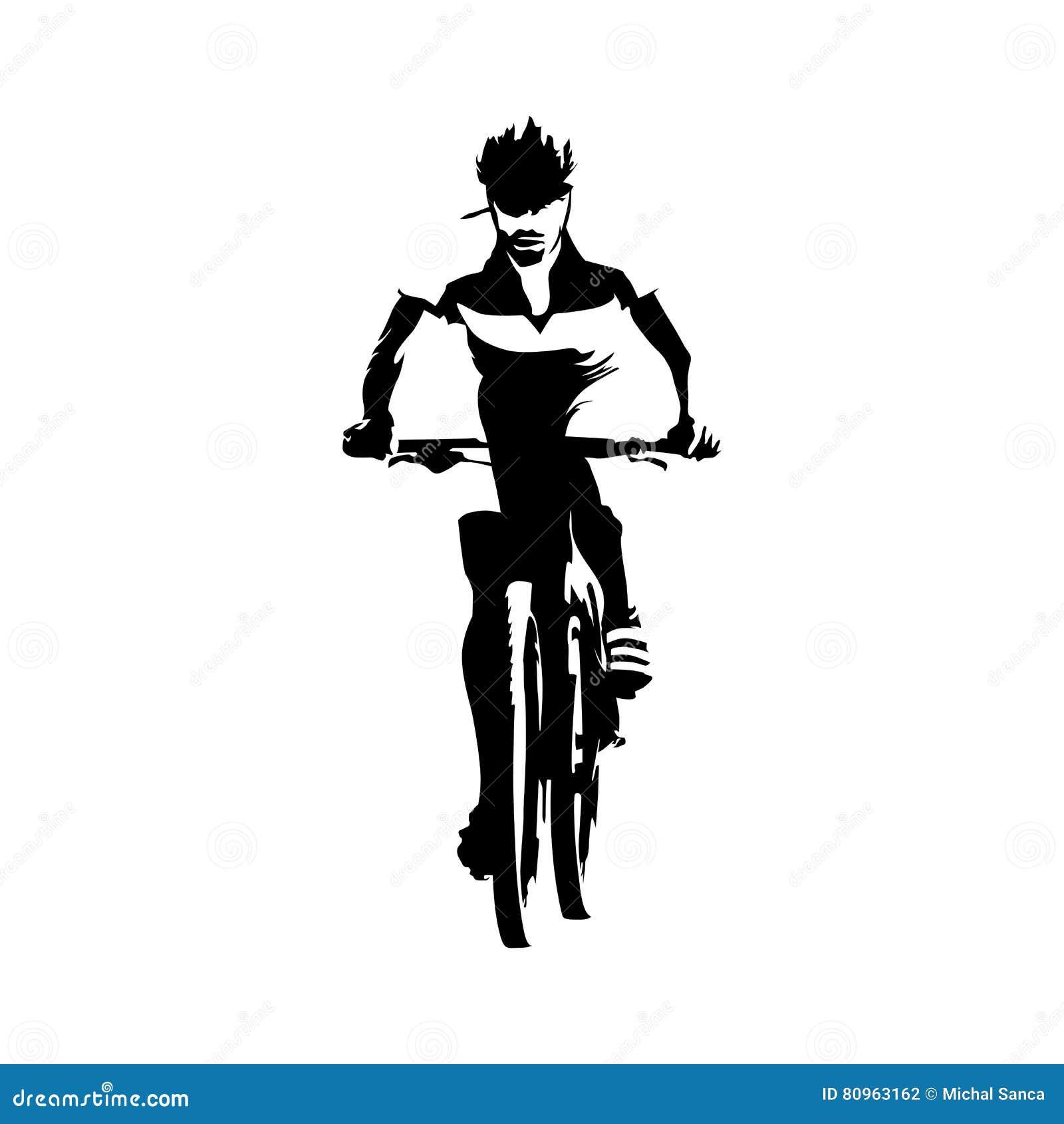 山骑自行车的人,抽象传染媒介剪影