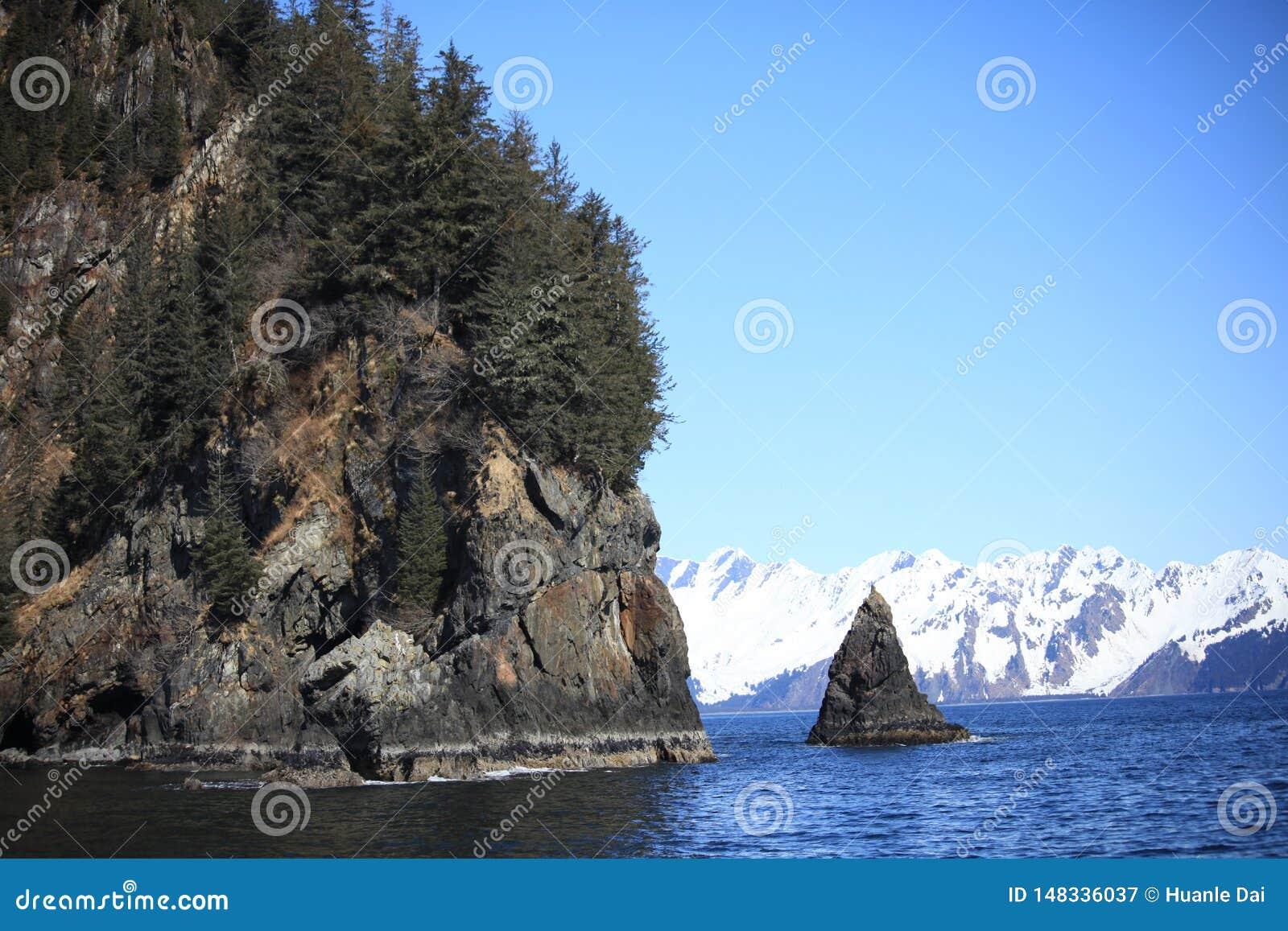 山,海,雪,岩石