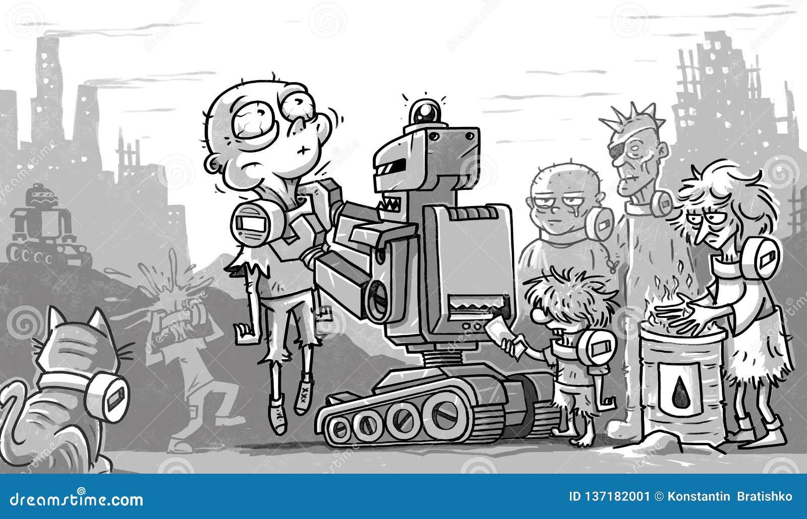岗位启示恶劣的人民和机器人