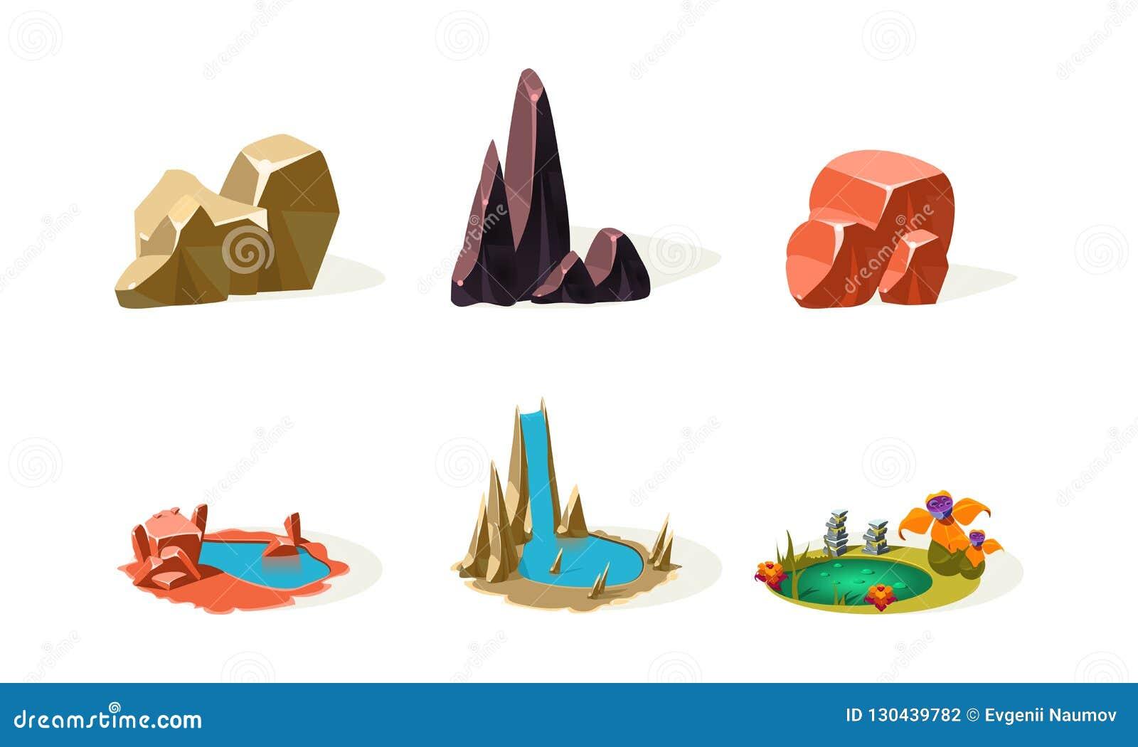 岩石石头,湖,瀑布,自然风景的元素,流动应用程序或电子游戏传染媒介的用户界面财产
