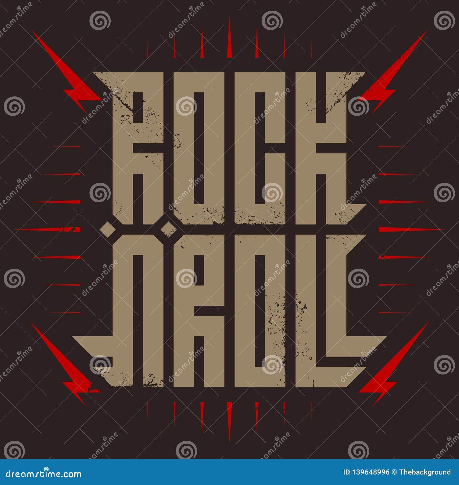岩石` n `卷-与风格化题字、红色闪电和星的音乐海报 摇滚乐- T恤杉设计 T恤杉服装