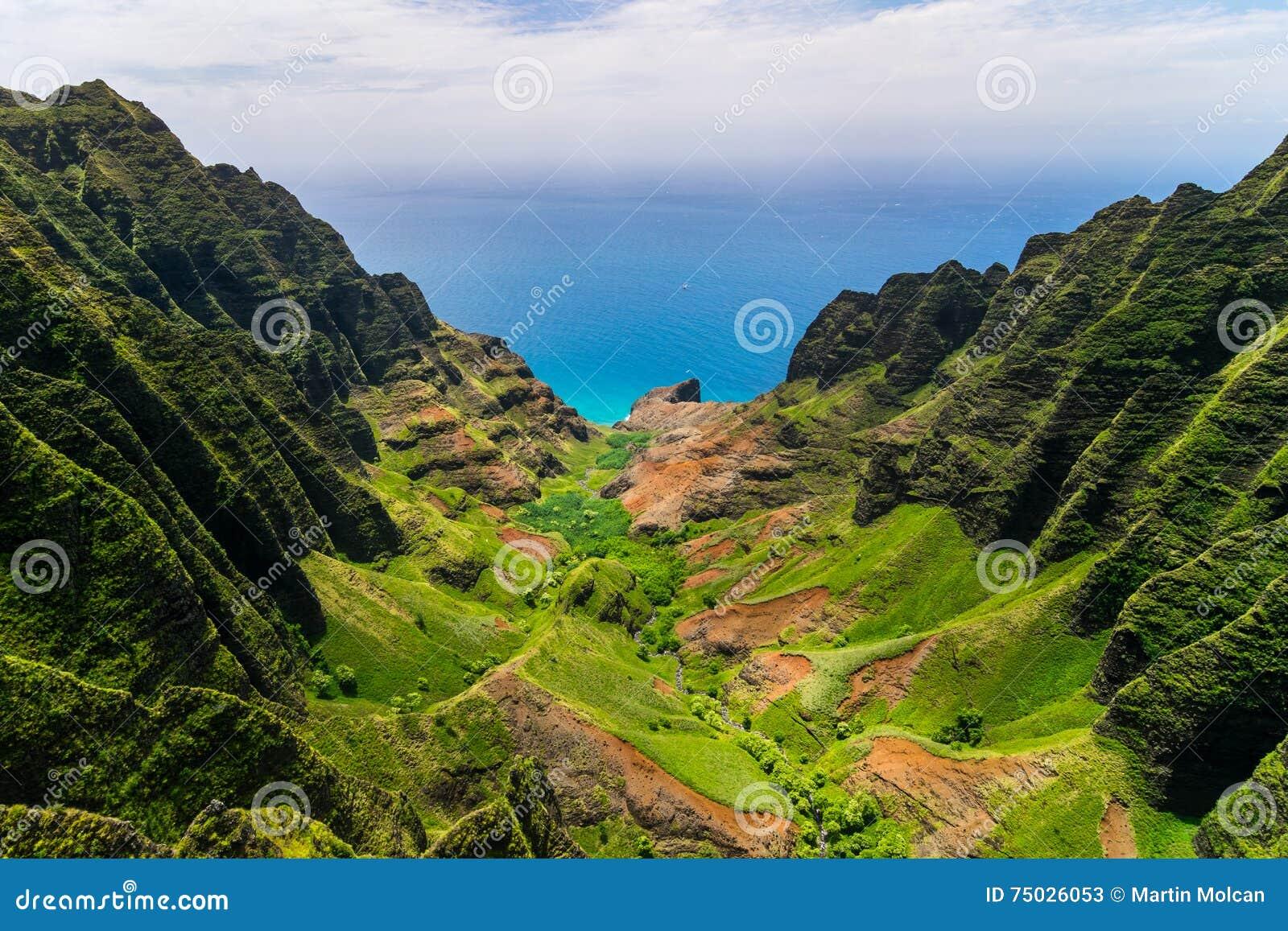 峭壁和绿色山谷,考艾岛空中风景视图