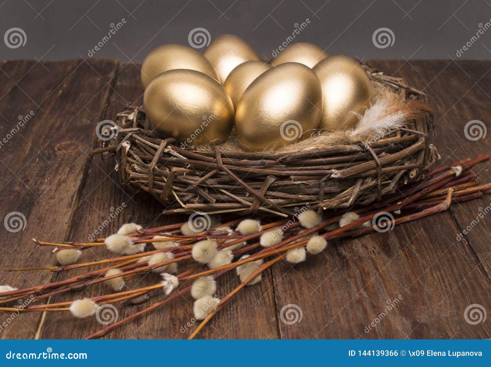 巢用与杨柳的金黄鸡蛋在木背景 复活节