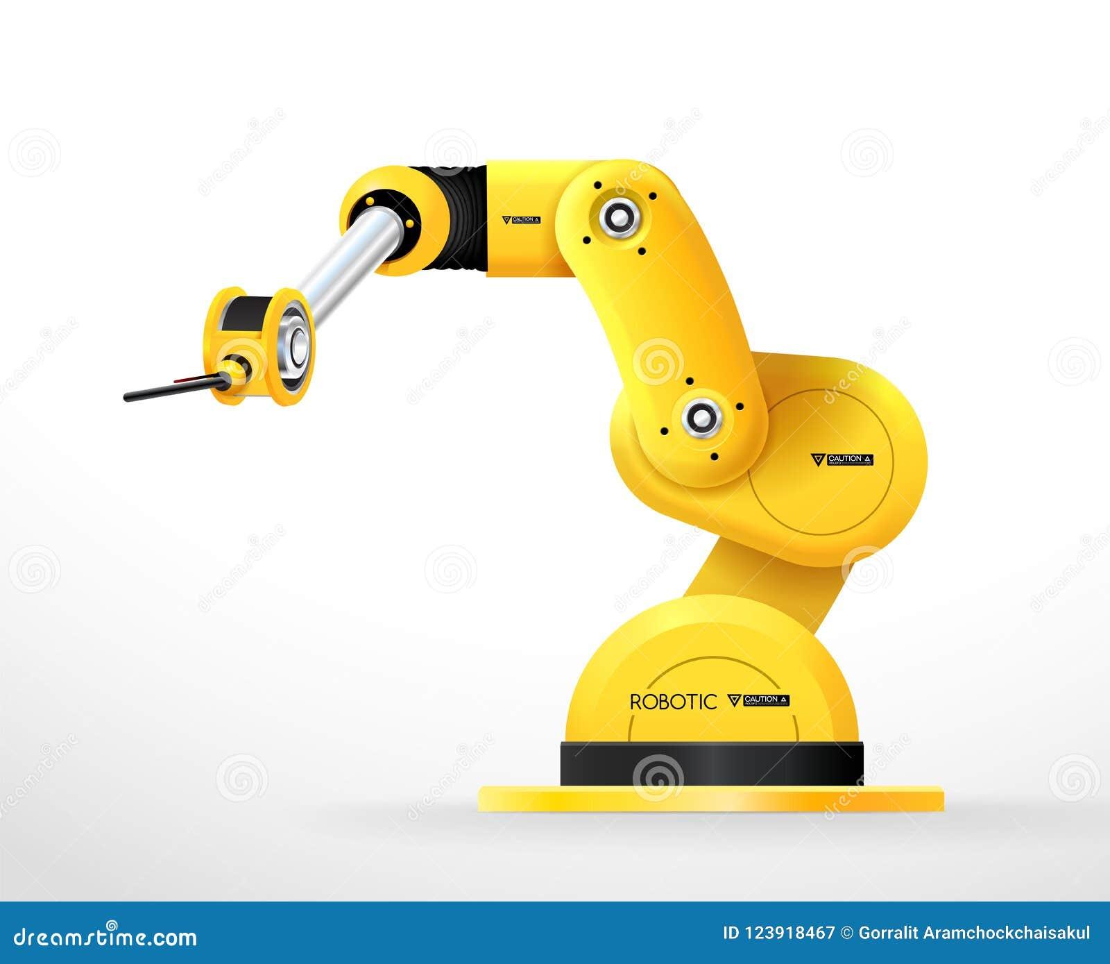 工业机器机器人手臂间的机械工厂