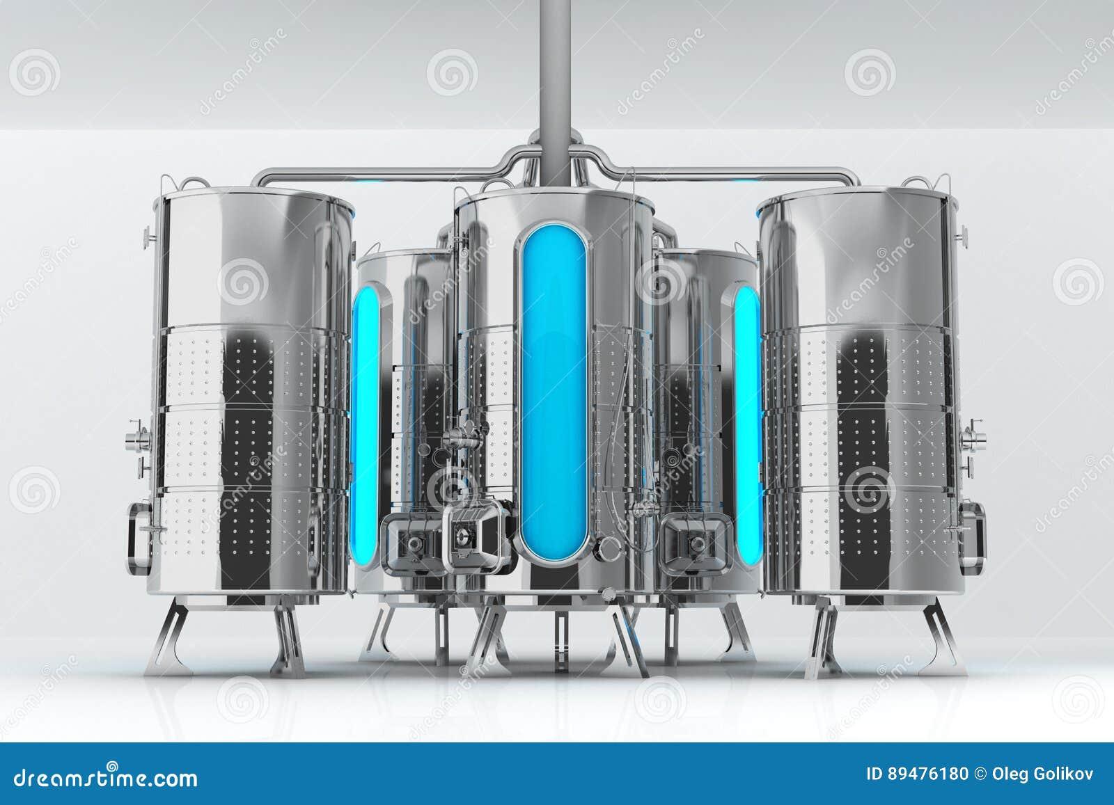 工业目的金属桶 生产和存贮的容量 3d启动迷信例证皮革
