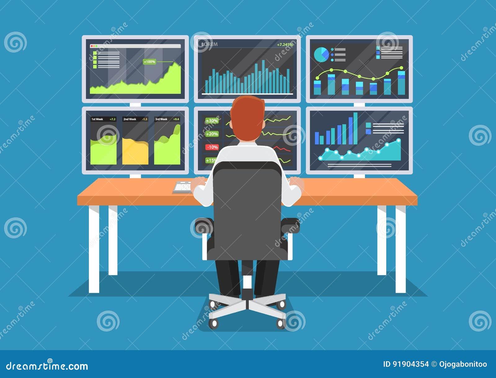 工作在书桌的商人或股市贸易商