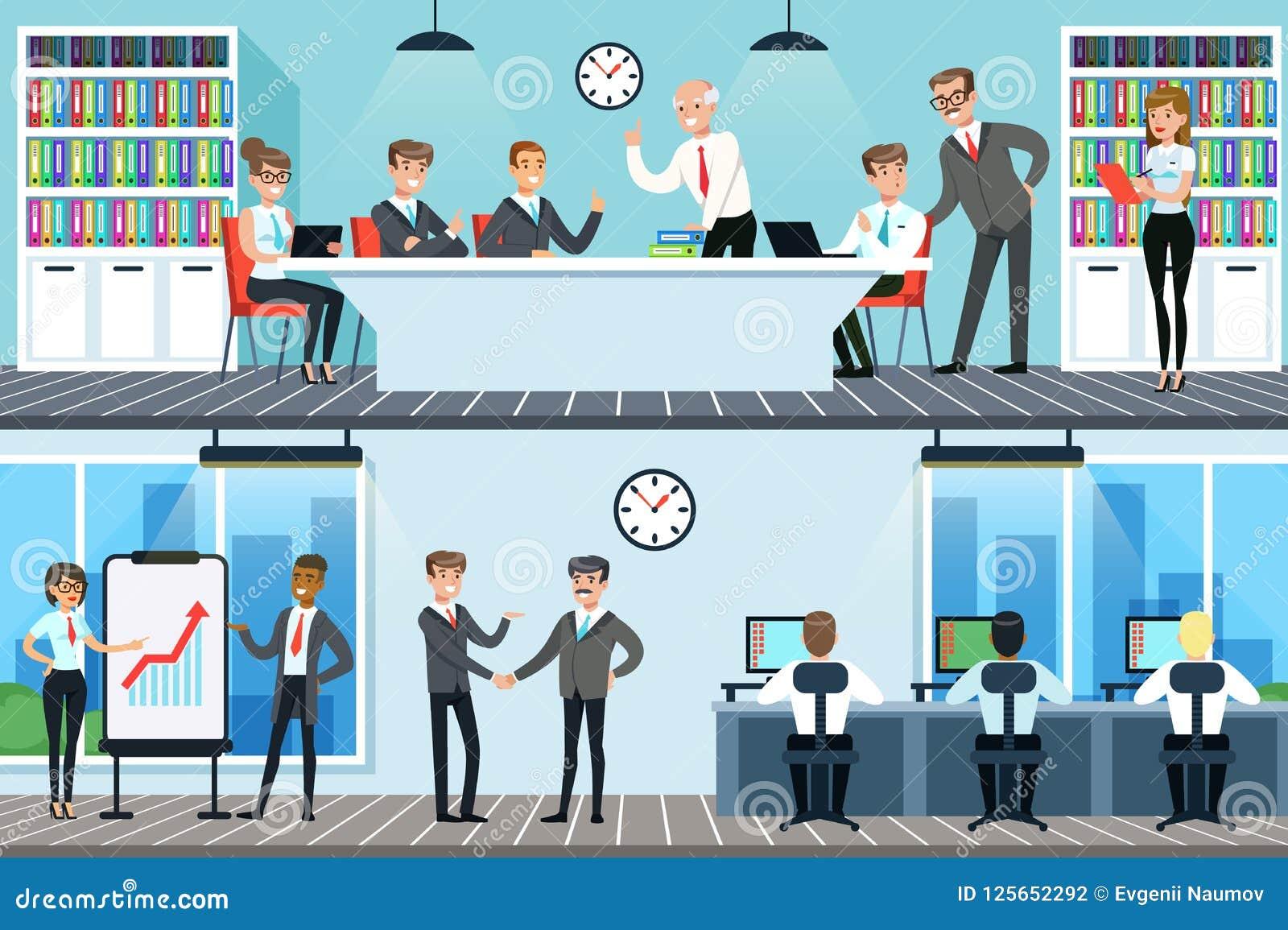 工作在办公室集合、男人和妇女的商人有会议和见面为水平企业的合作