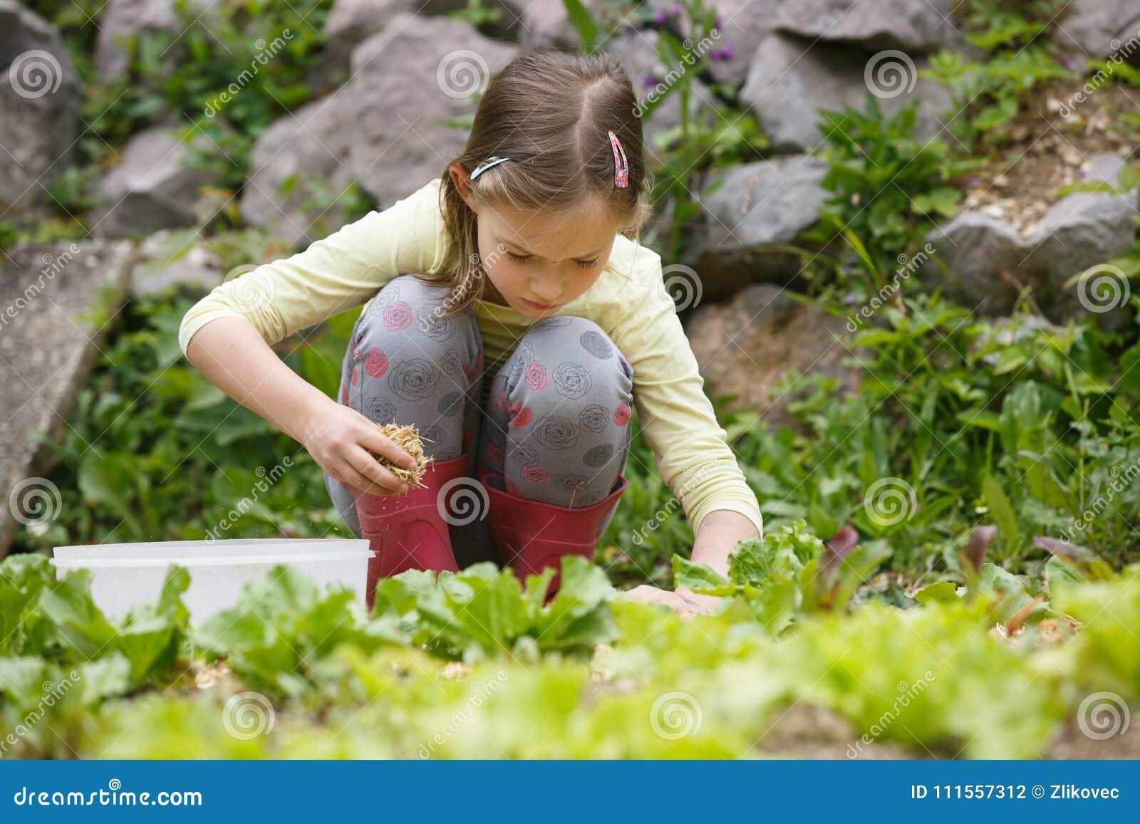 工作在庭院里的小女孩