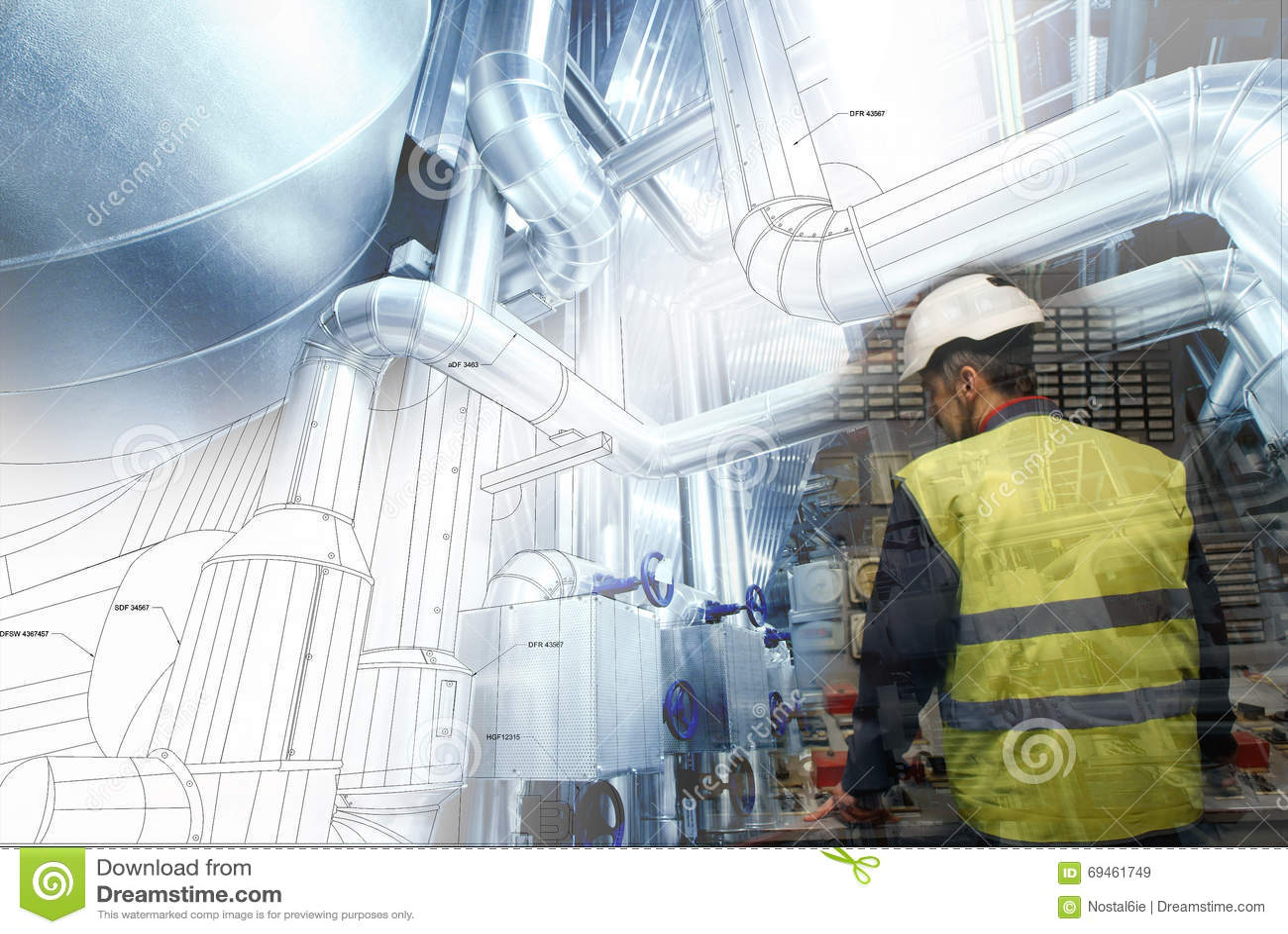 工作在能源厂的工程学人作为操作员