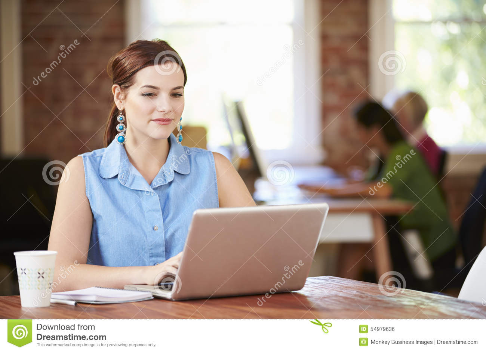 工作在膝上型计算机的妇女在当代办公室